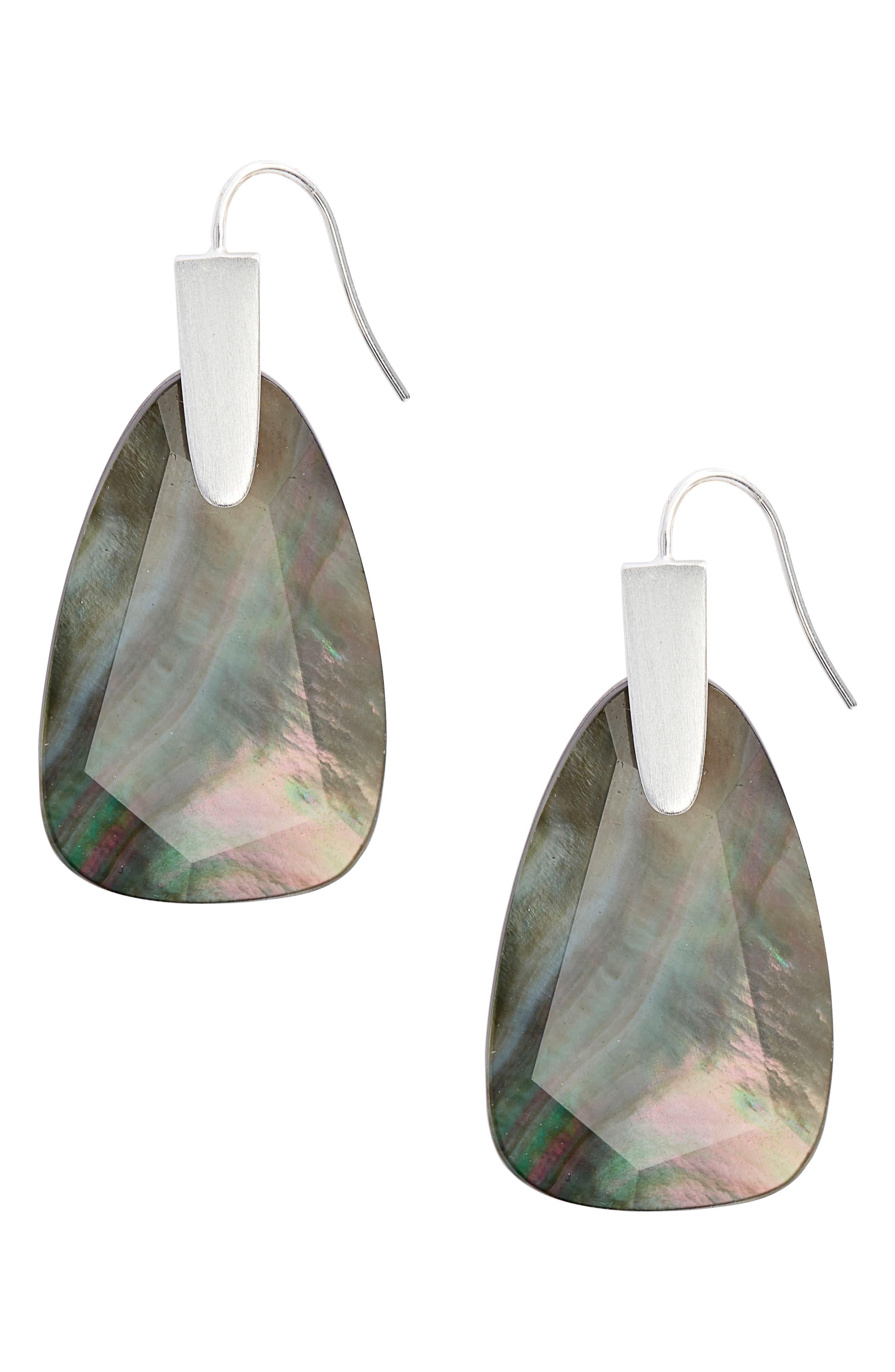 KENDRA SCOTT Marty Drop Earrings, Main, color, BRIGHT SILVER/ BLACK MOP