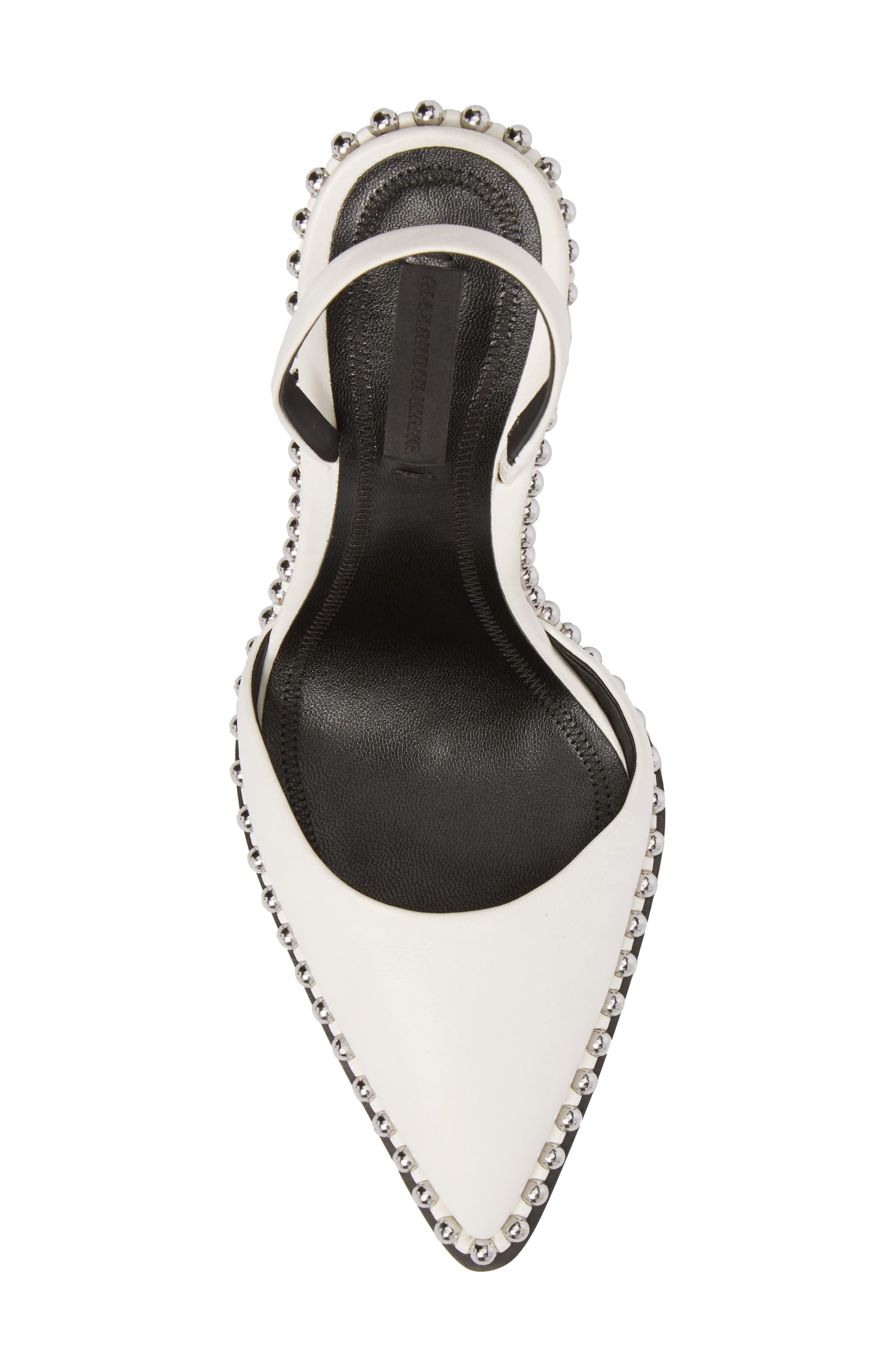 ALEXANDER WANG, Rina Beaded Pump, Alternate thumbnail 5, color, WHITE LEATHER
