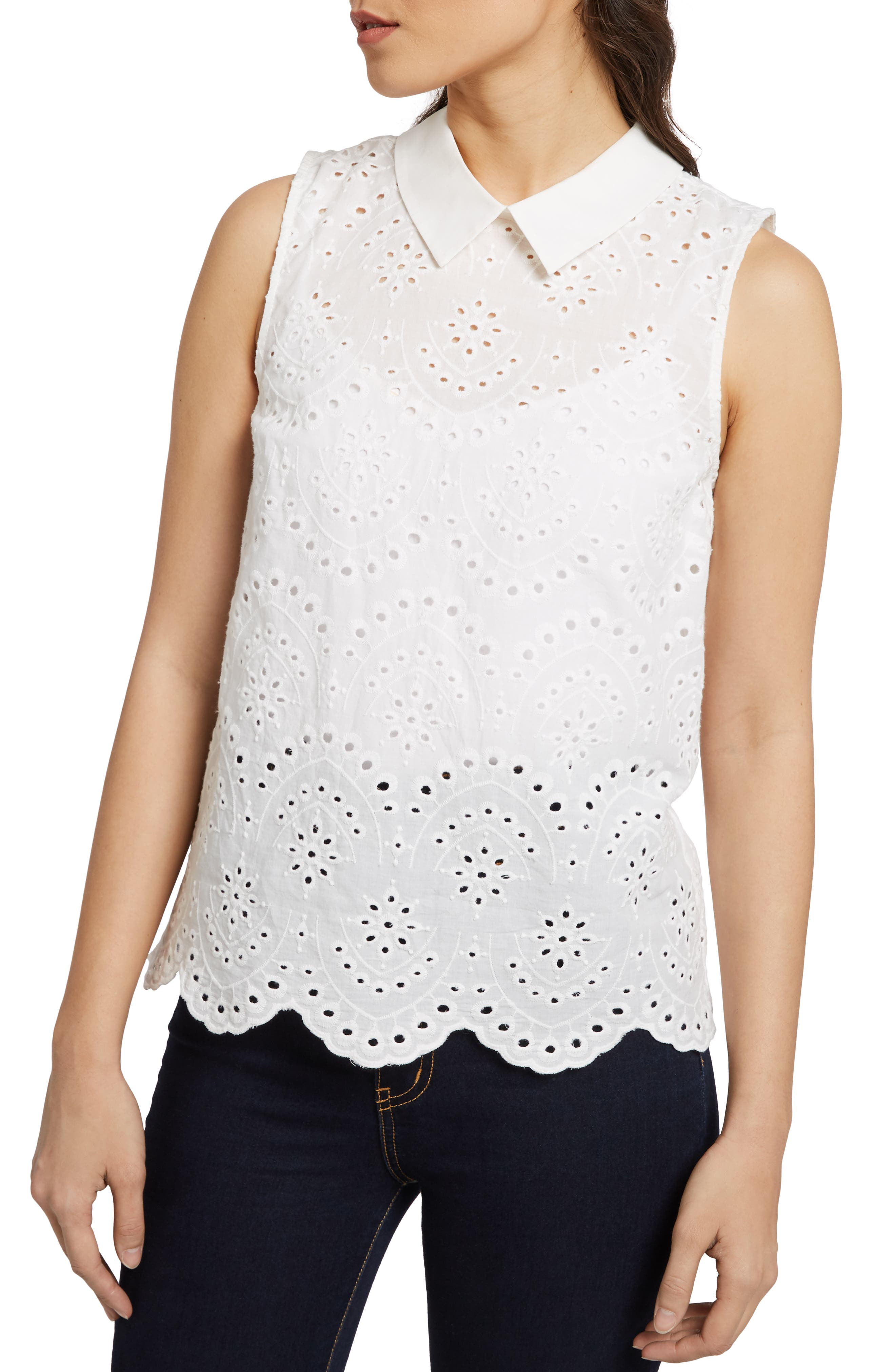 MODCLOTH Eyelet in the Sun Top, Main, color, WHITE