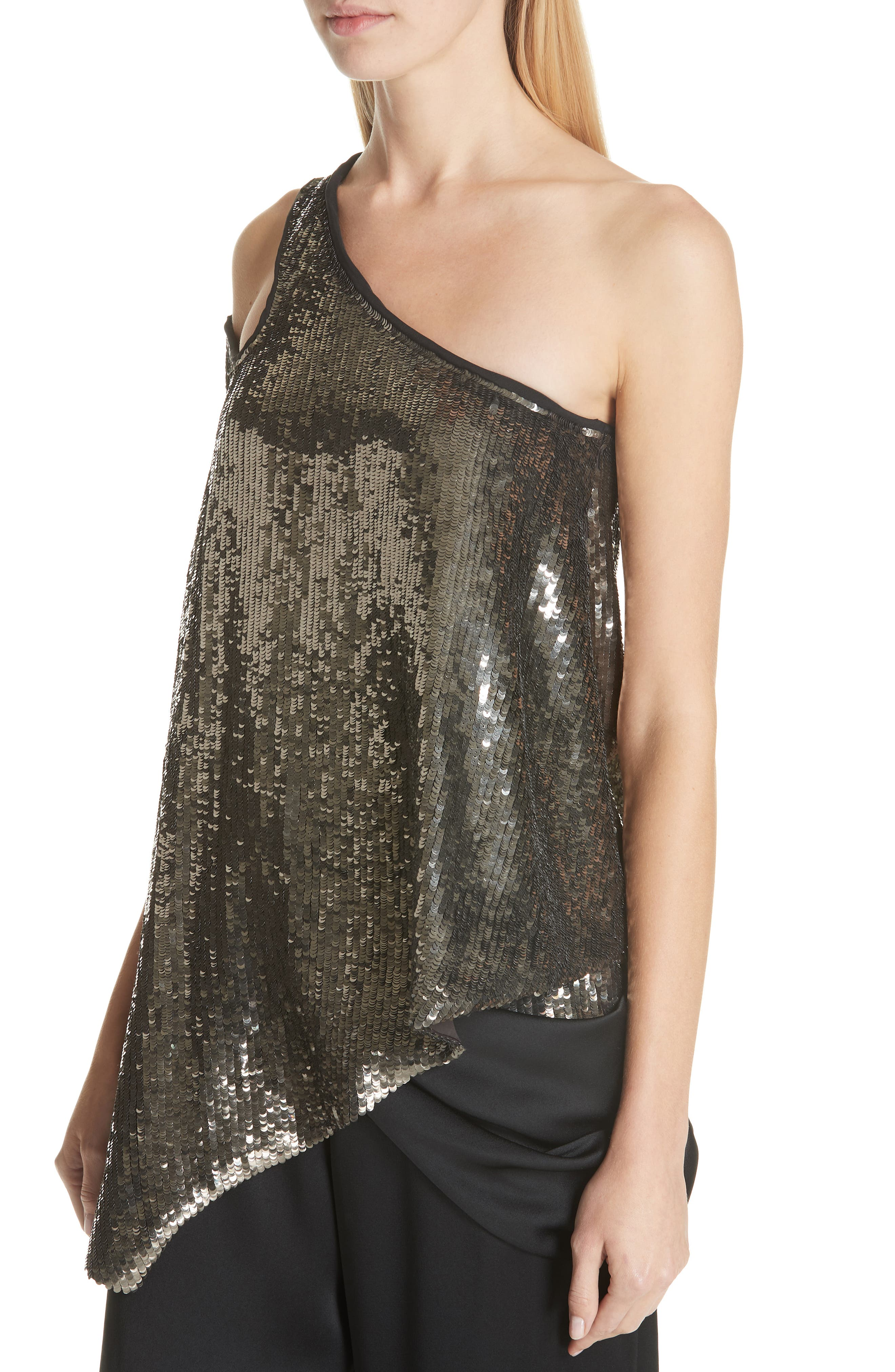 MONSE, Cutout Shoulder Sequin Tank, Alternate thumbnail 4, color, GUN METAL