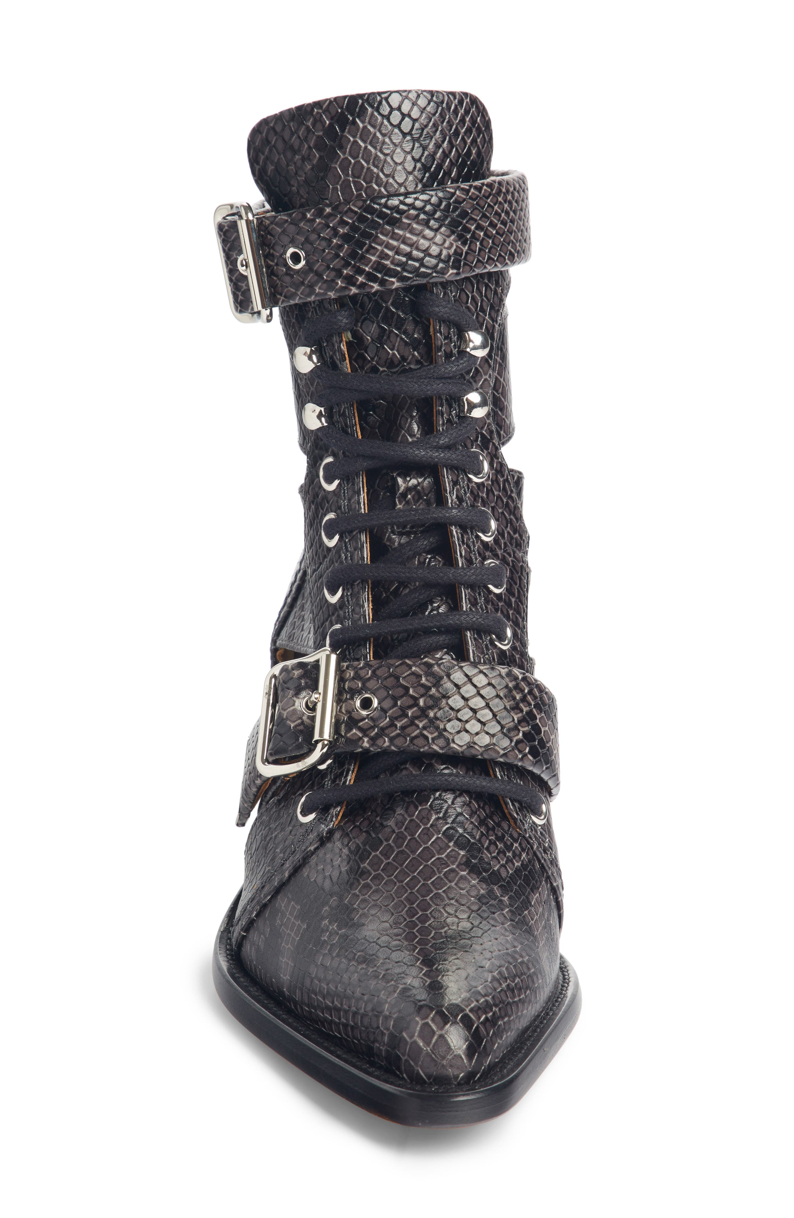 CHLOÉ, Rylee Caged Pointy Toe Boot, Alternate thumbnail 4, color, CHARCOAL BLACK