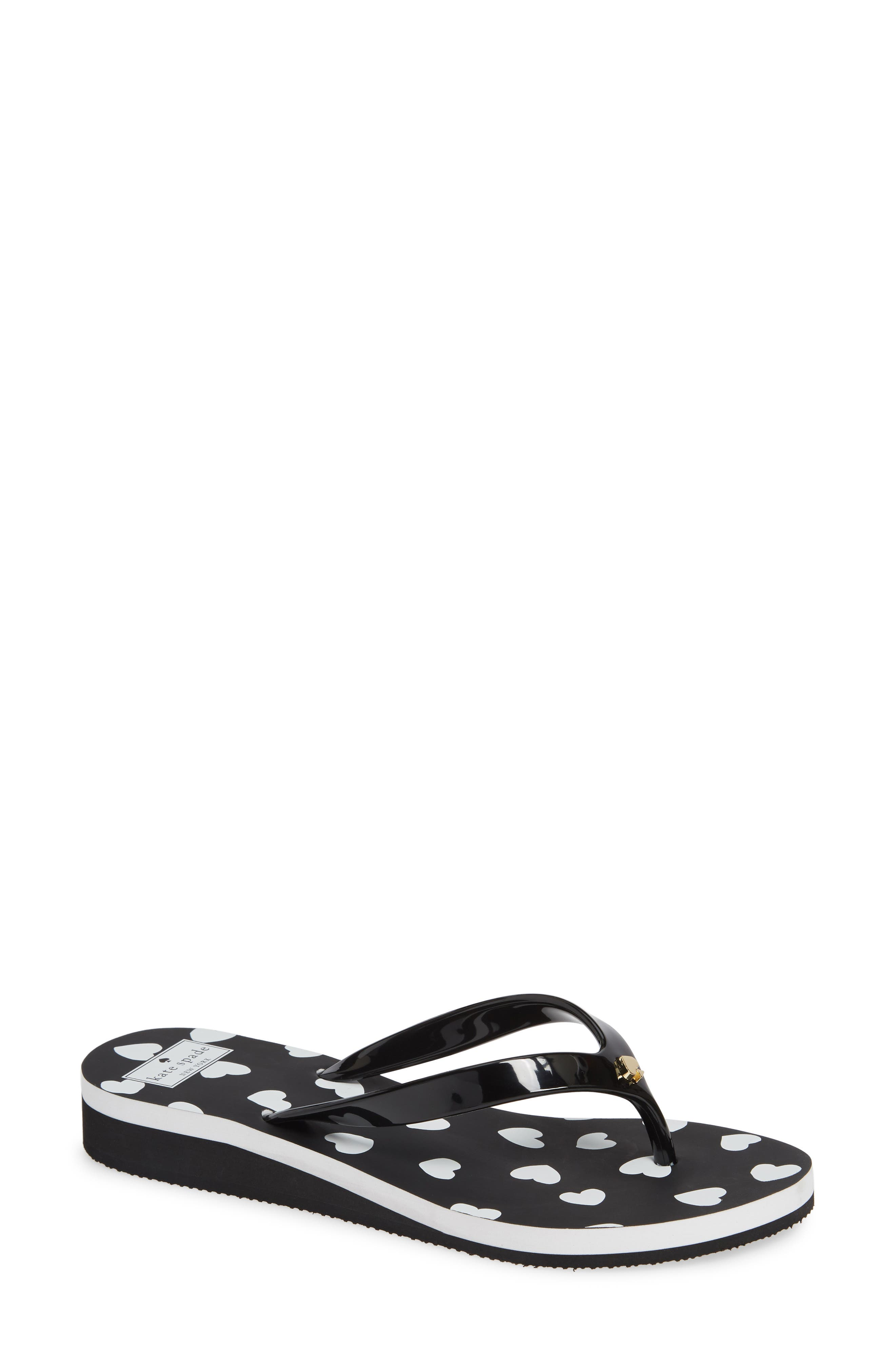 KATE SPADE NEW YORK milli wedge flip-flop, Main, color, BLACK/ WHITE HEART