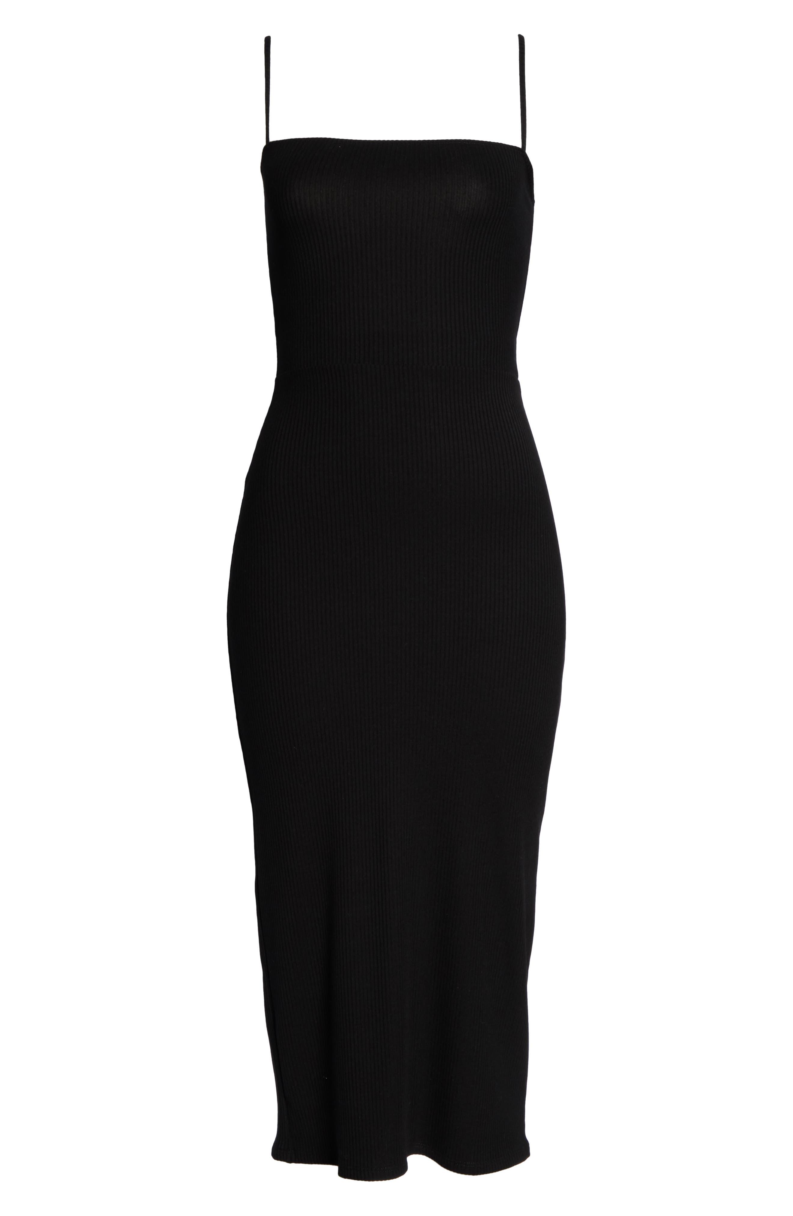 REFORMATION, Haley Midi Dress, Alternate thumbnail 5, color, BLACK
