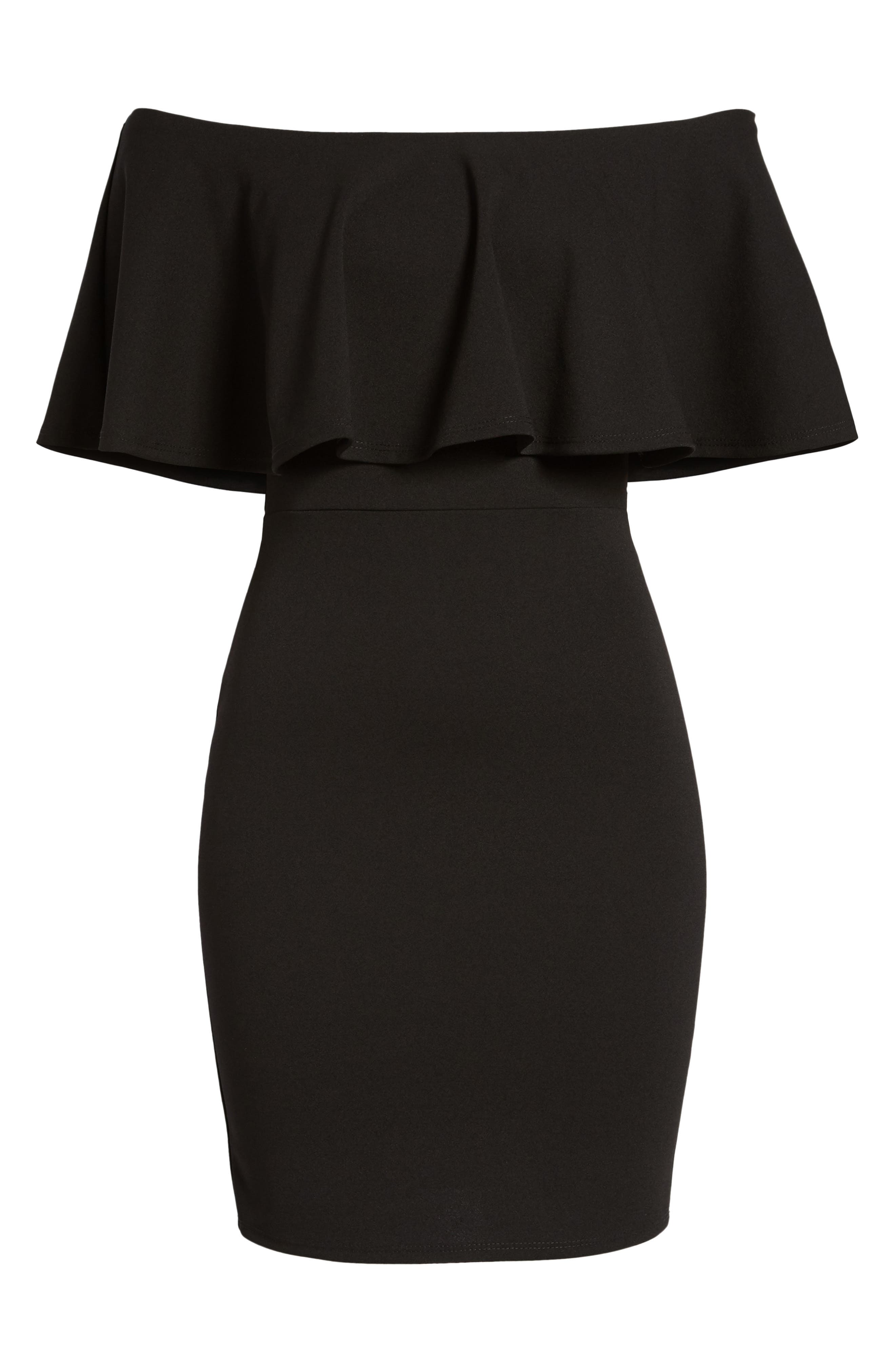 SOPRANO, Ruffle Off the Shoulder Body-Con Dress, Alternate thumbnail 7, color, 001