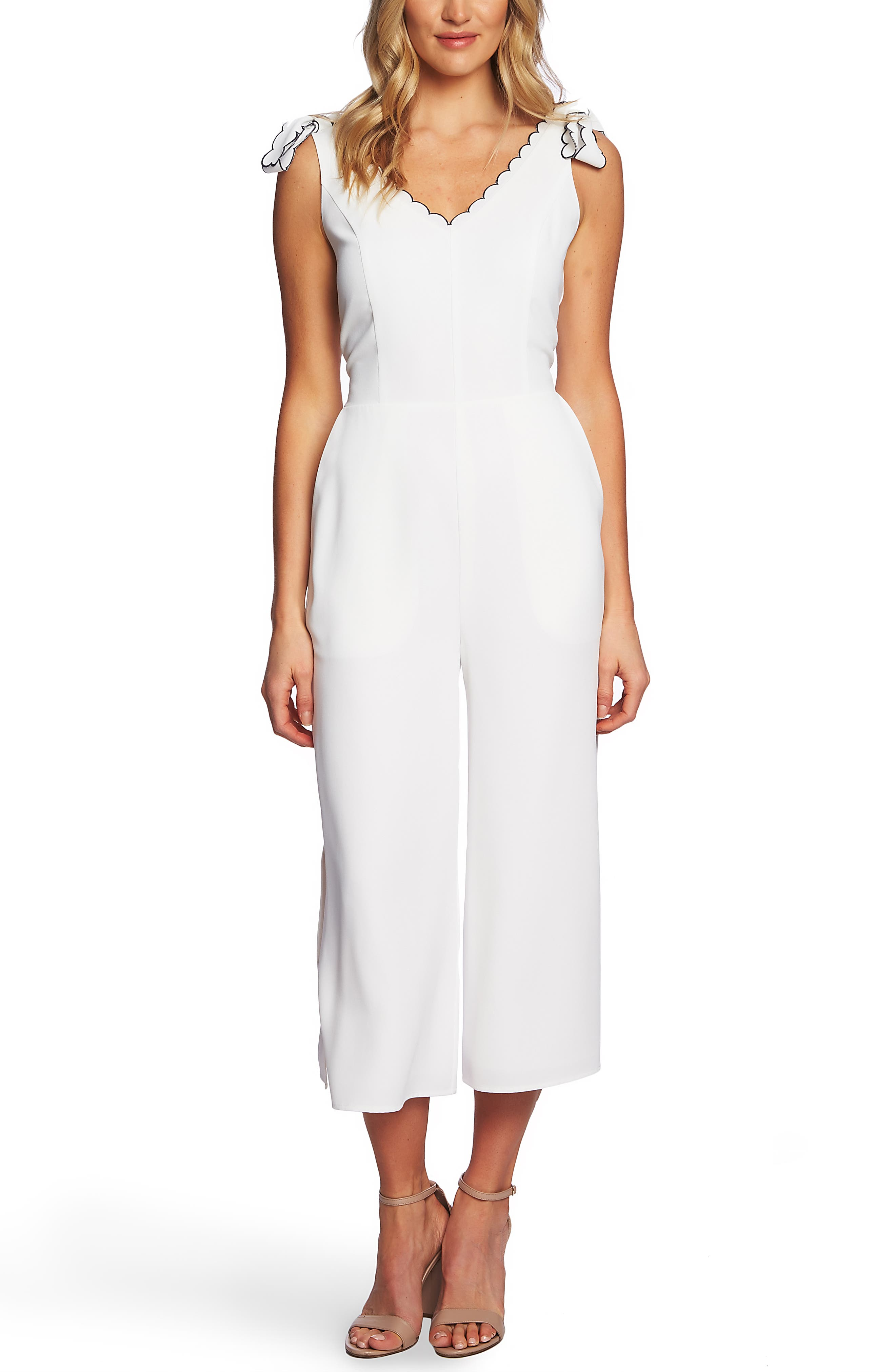 Cece Sleeveless Tie Shoulder Jumpsuit, Ivory