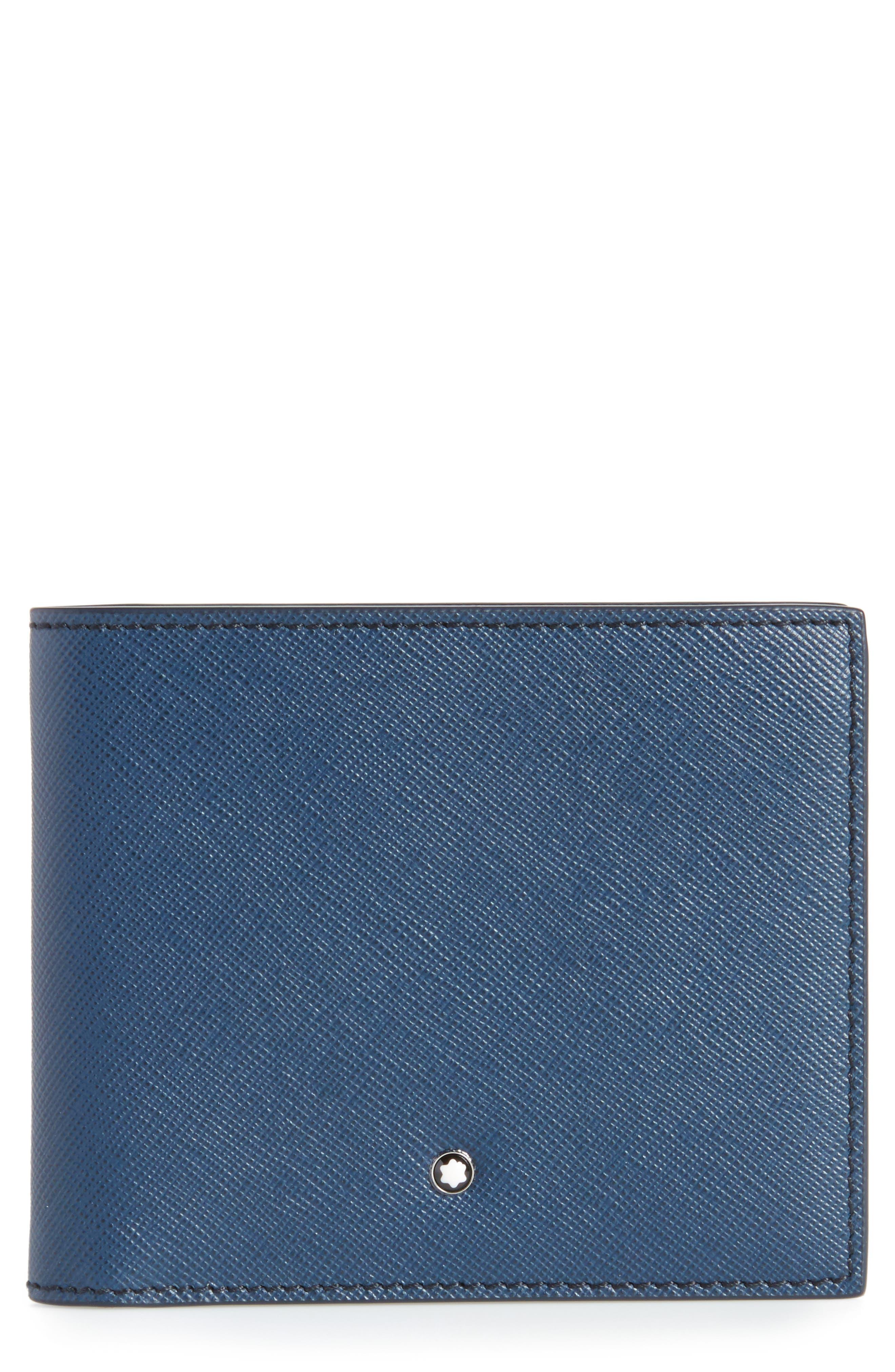MONTBLANC, Sartorial Leather Wallet, Main thumbnail 1, color, INDIGO