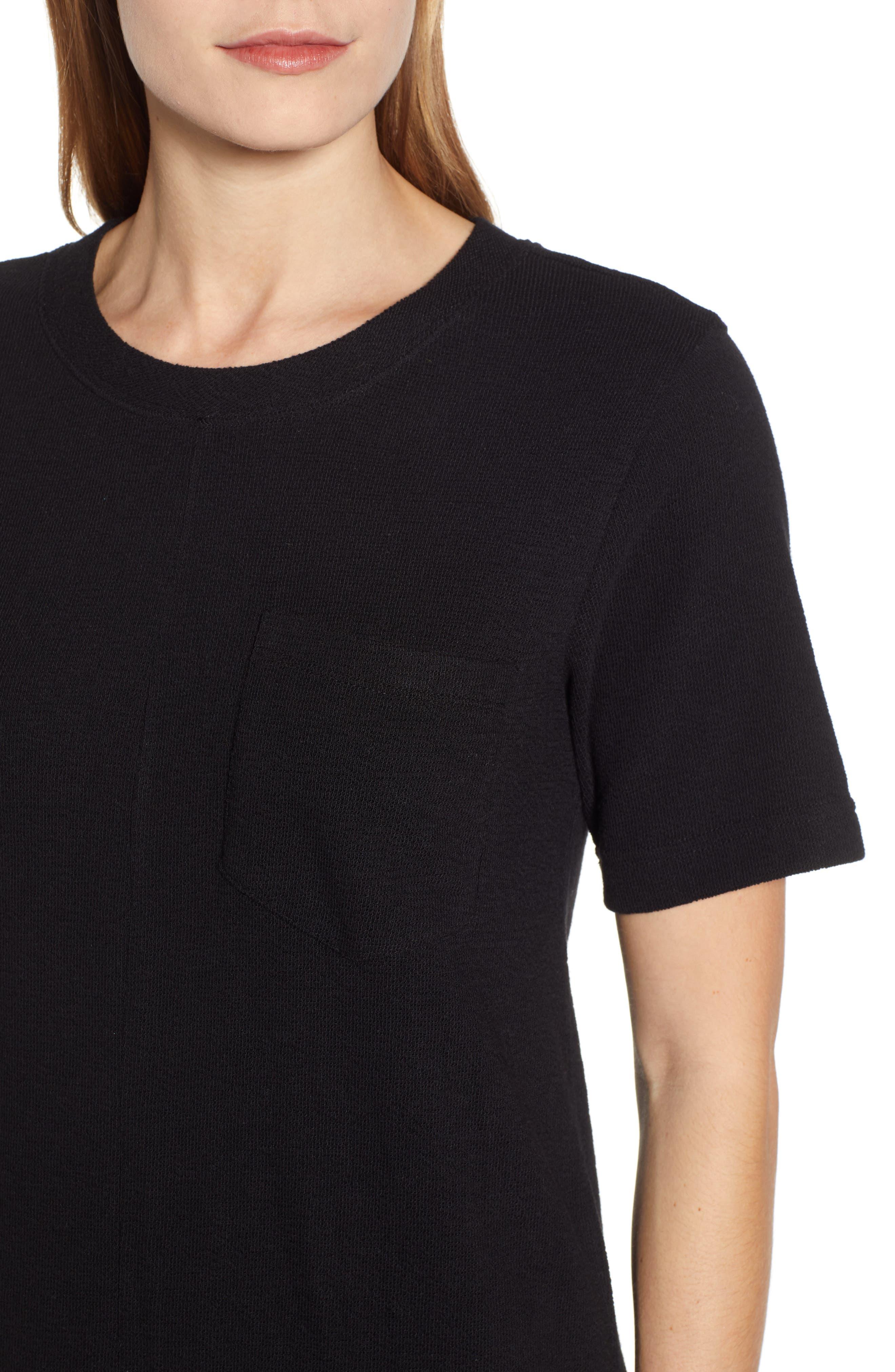 CASLON<SUP>®</SUP>, T-Shirt Dress, Alternate thumbnail 5, color, BLACK