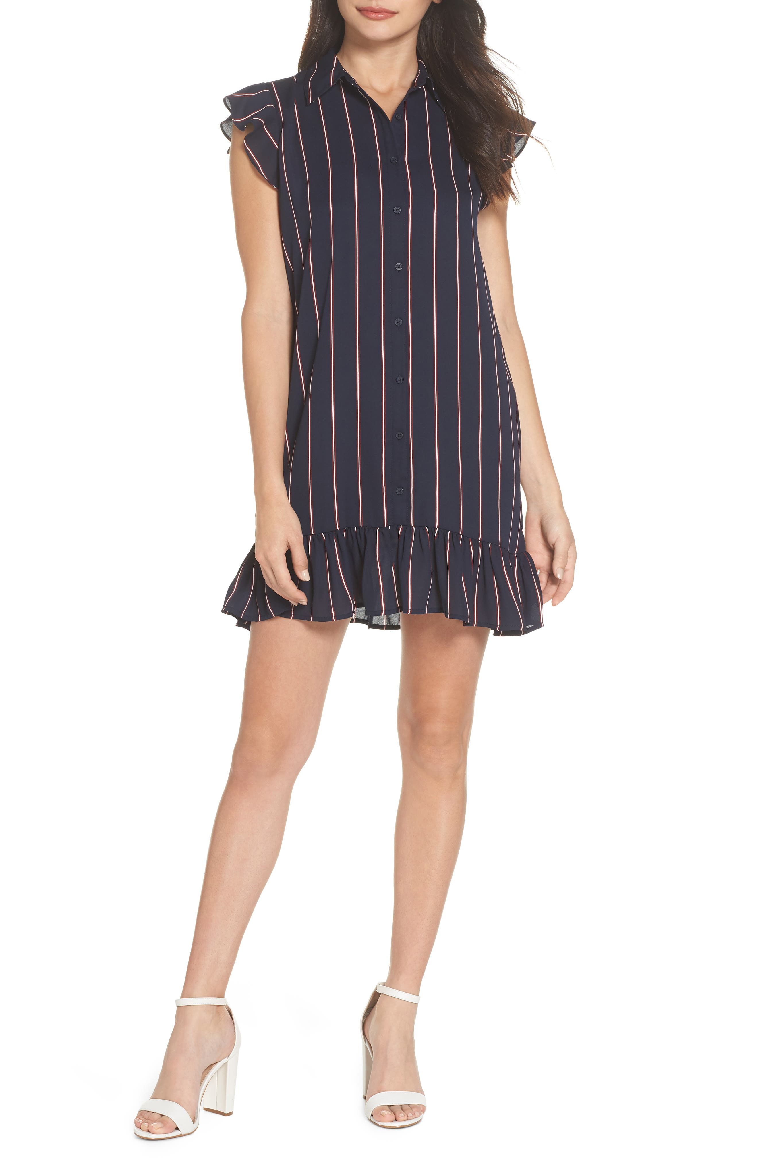 BB DAKOTA, American Pie Stripe Shirtdress, Main thumbnail 1, color, MIDNIGHT SKY