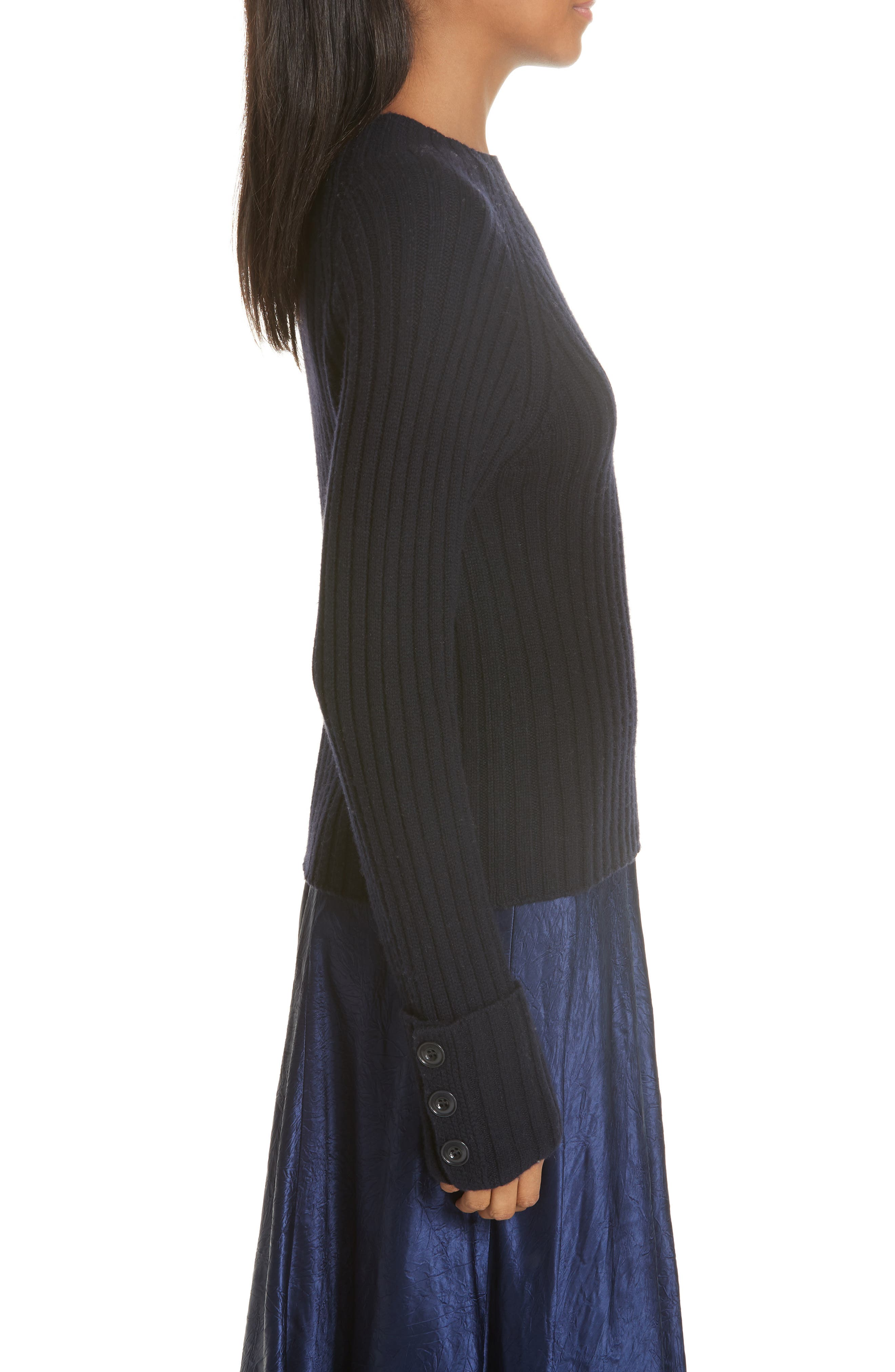 VINCE, Button Cuff Wool & Cashmere Sweater, Alternate thumbnail 3, color, 403
