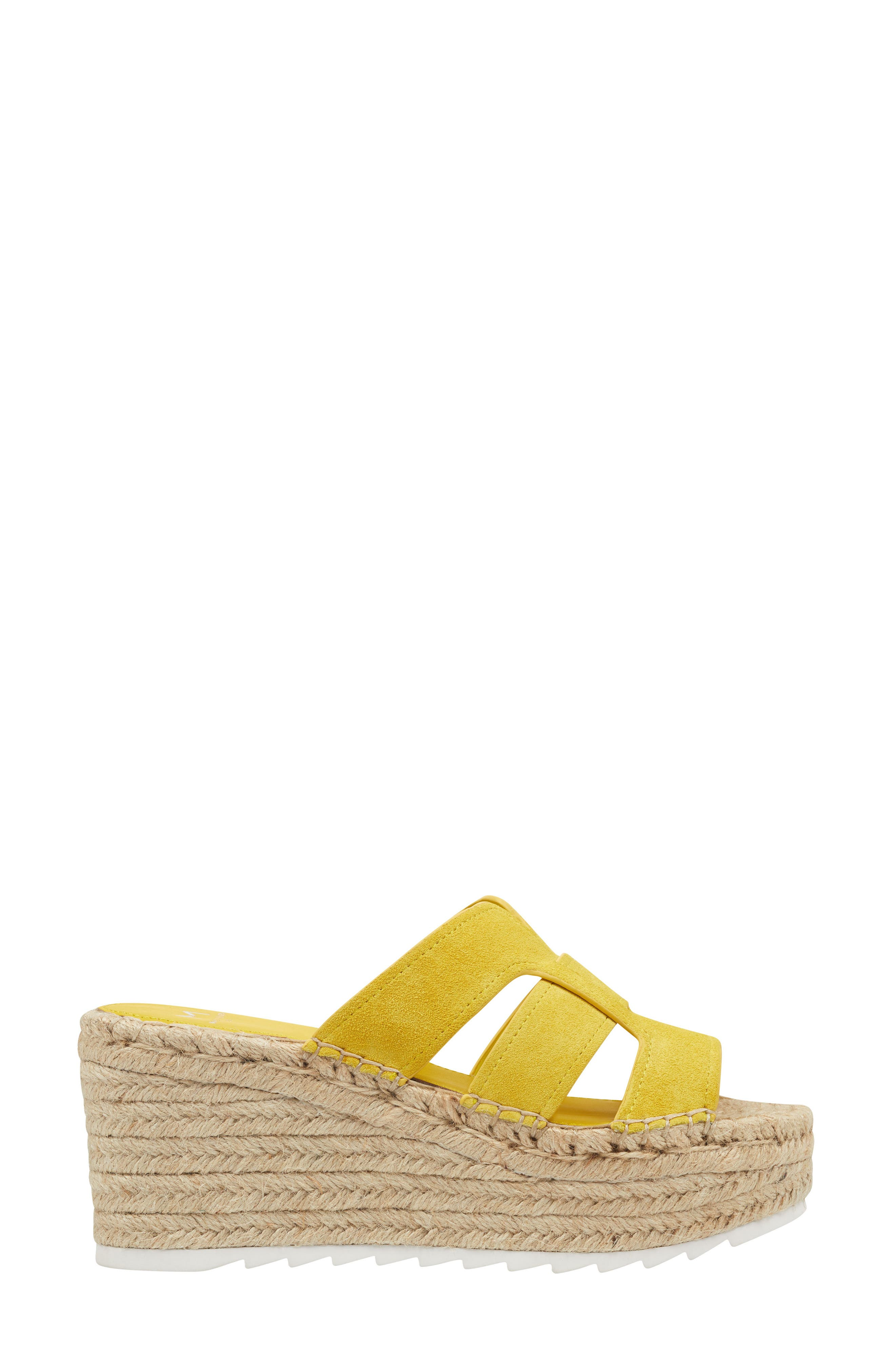 MARC FISHER LTD, Robbyn Espadrille Wedge Sandal, Alternate thumbnail 3, color, YELLOW SUEDE