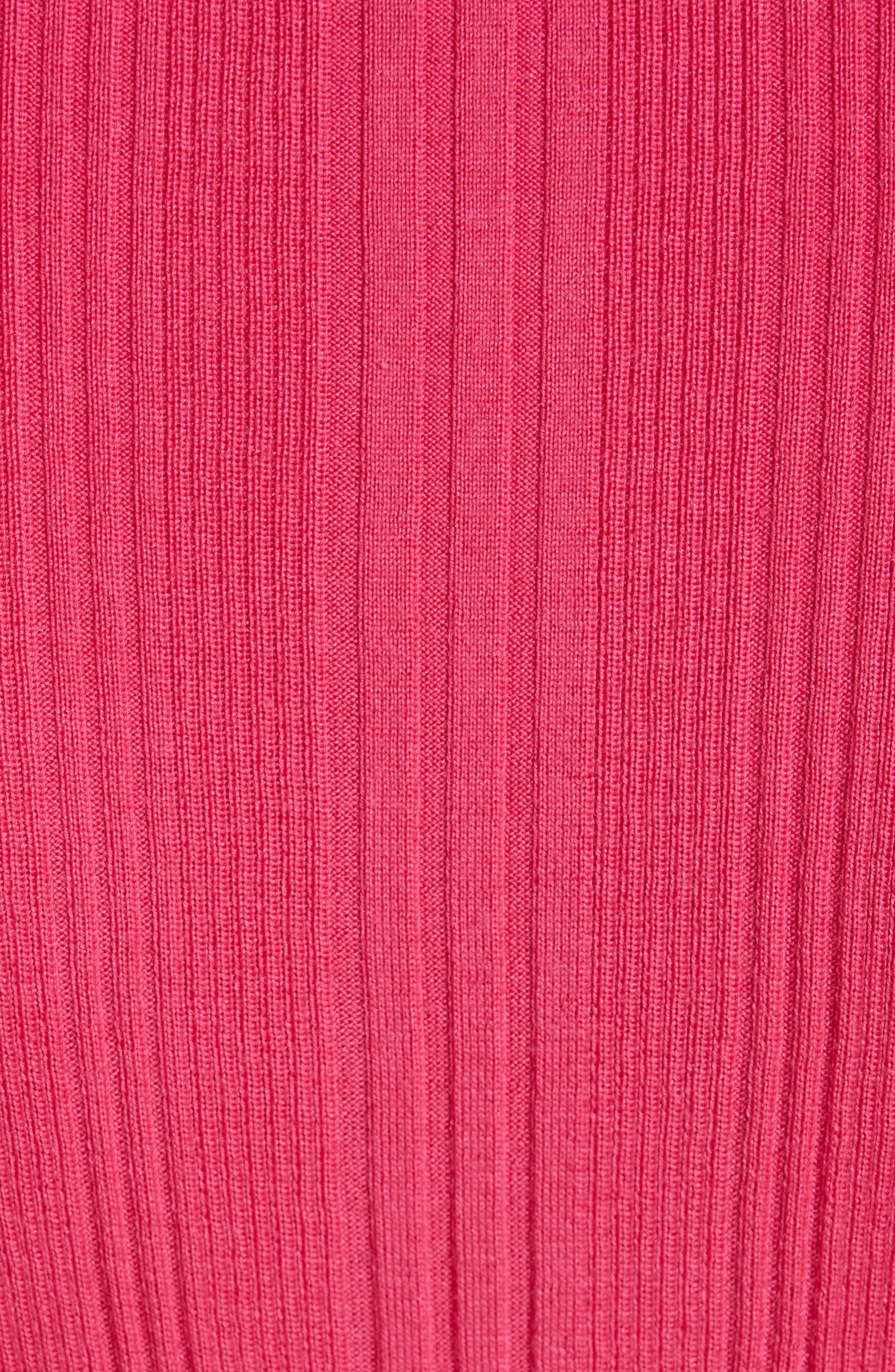 ST. JOHN COLLECTION, Superfine Variegated Rib Sweater, Alternate thumbnail 5, color, FLAMINGO