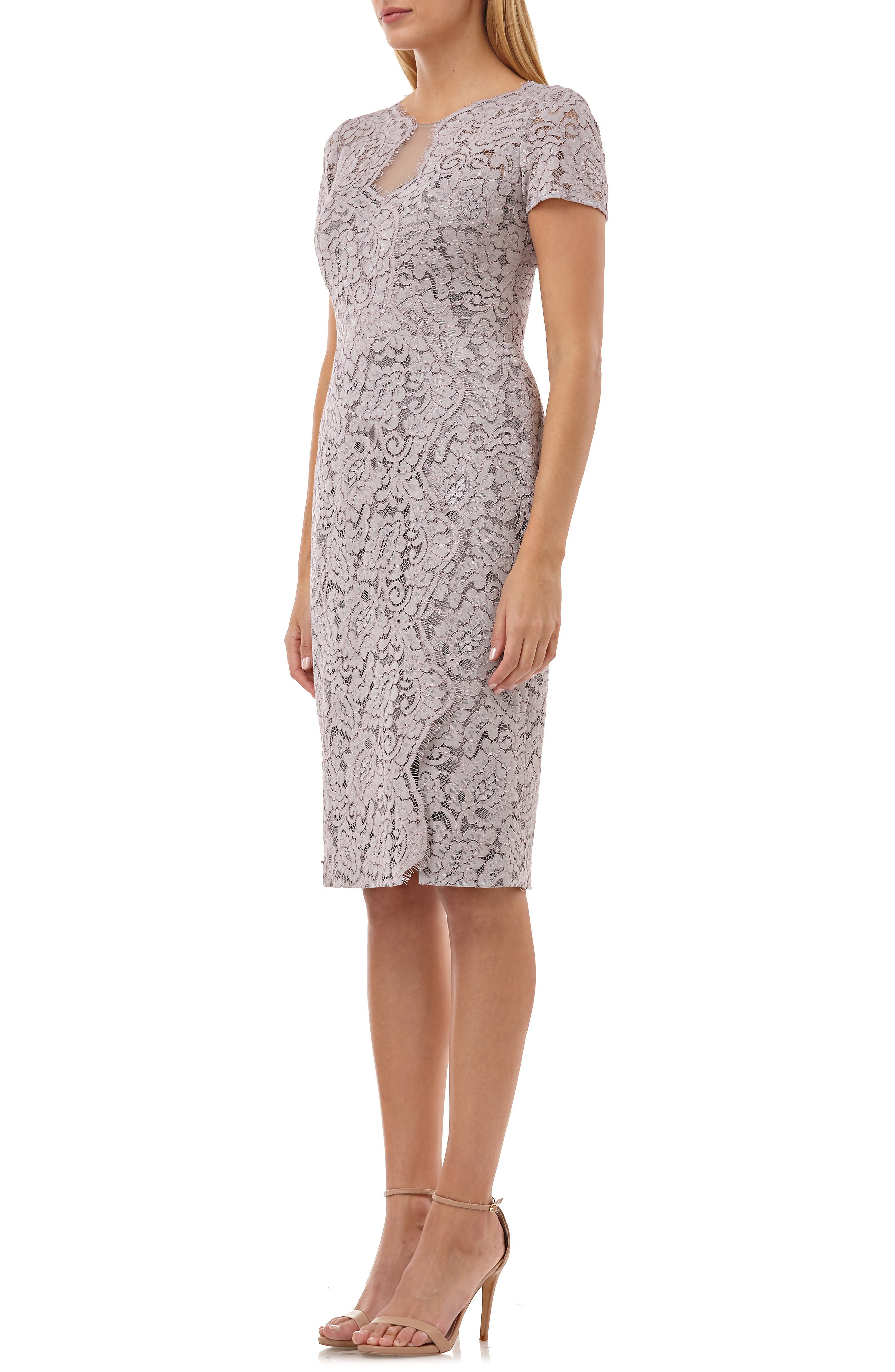 JS COLLECTIONS, Lace Cocktail Dress, Alternate thumbnail 4, color, TAUPE