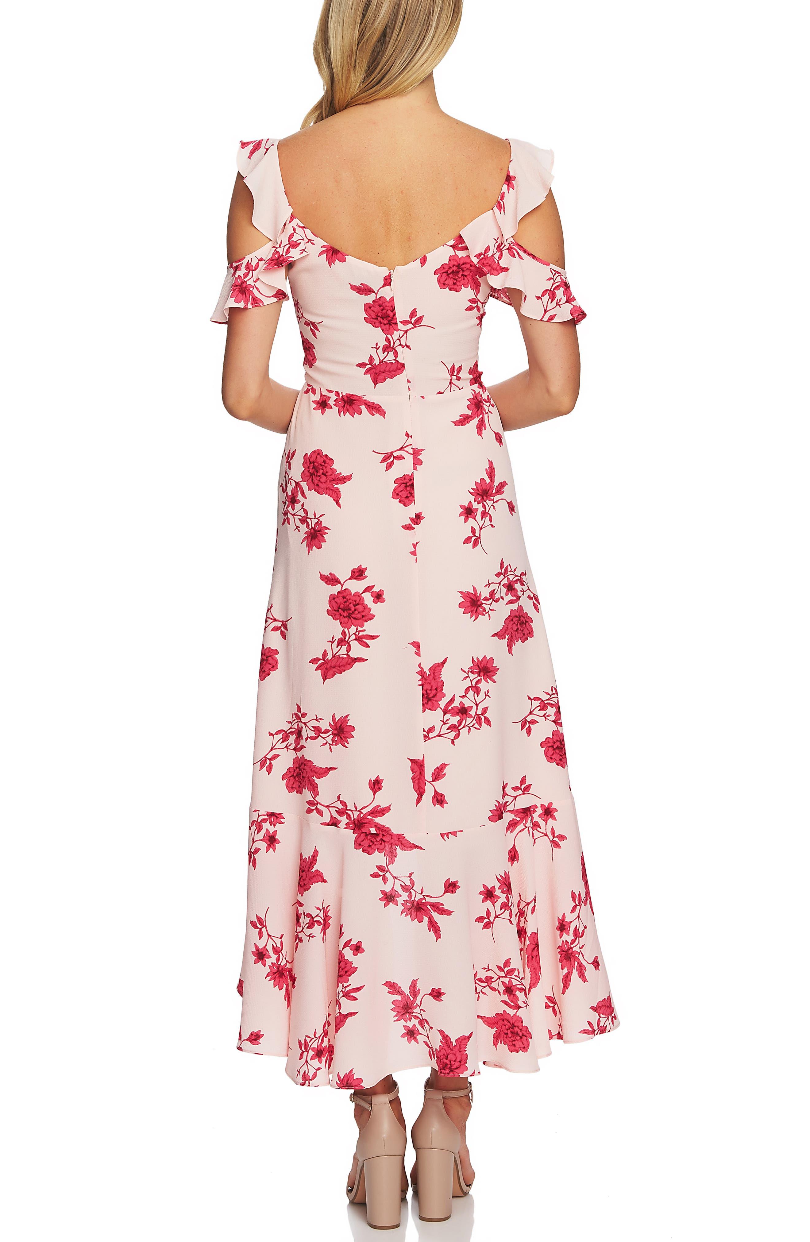 CECE, Etched Floral High/Low Midi Dress, Alternate thumbnail 2, color, SECRET BLUSH