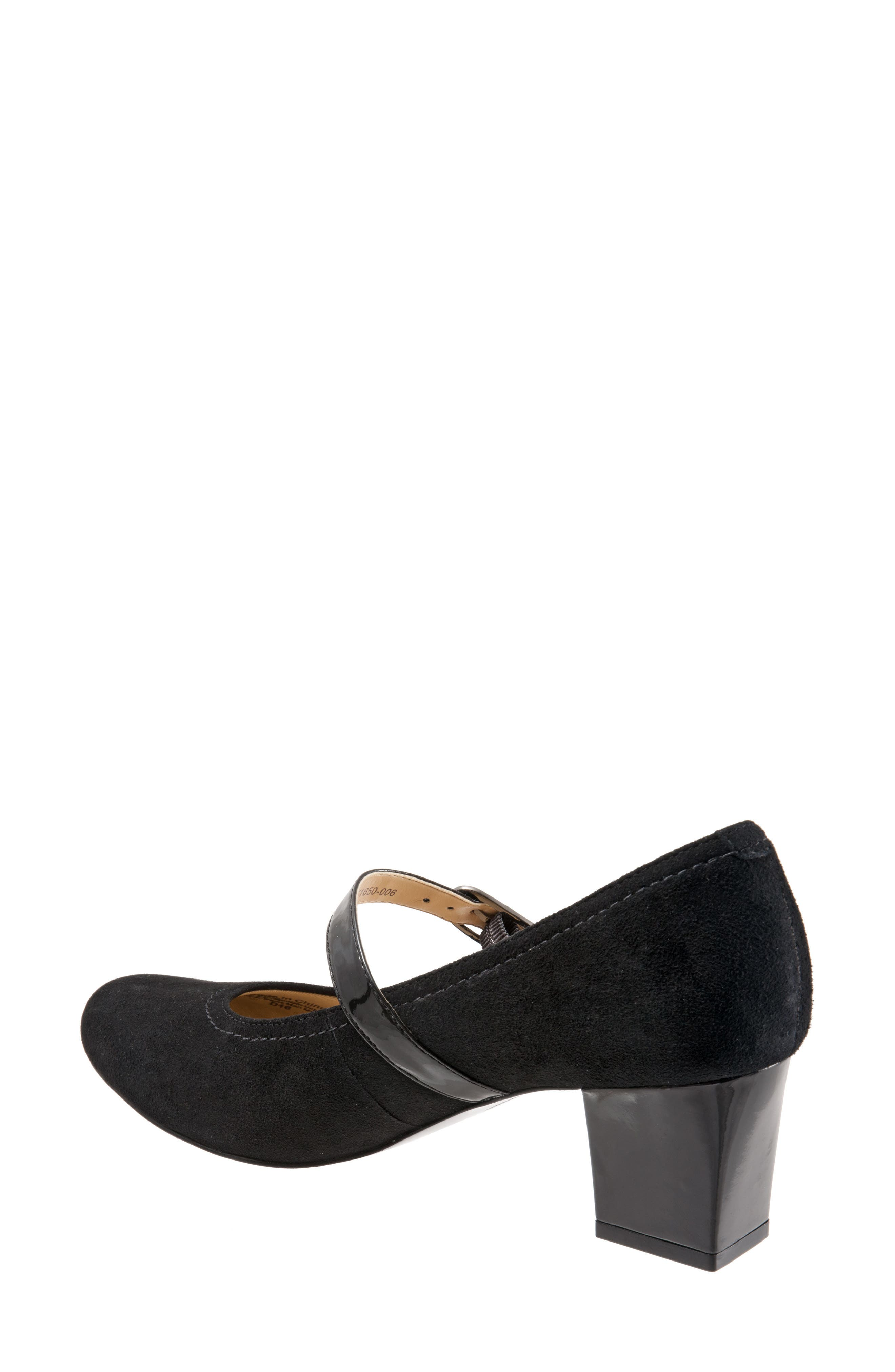 TROTTERS, 'Candice' Mary Jane Pump, Alternate thumbnail 6, color, BLACK SUEDE