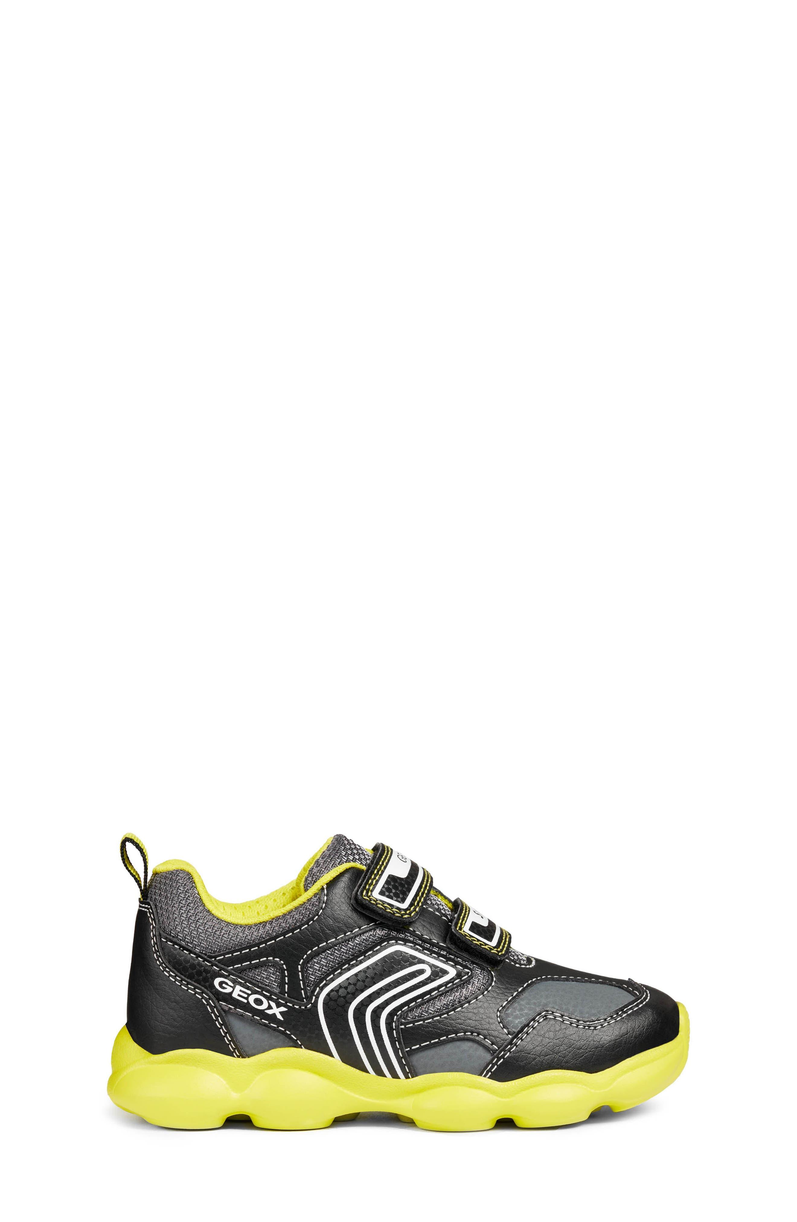 GEOX, Munfrey Waterproof Sneaker, Alternate thumbnail 3, color, BLACK/ LIME