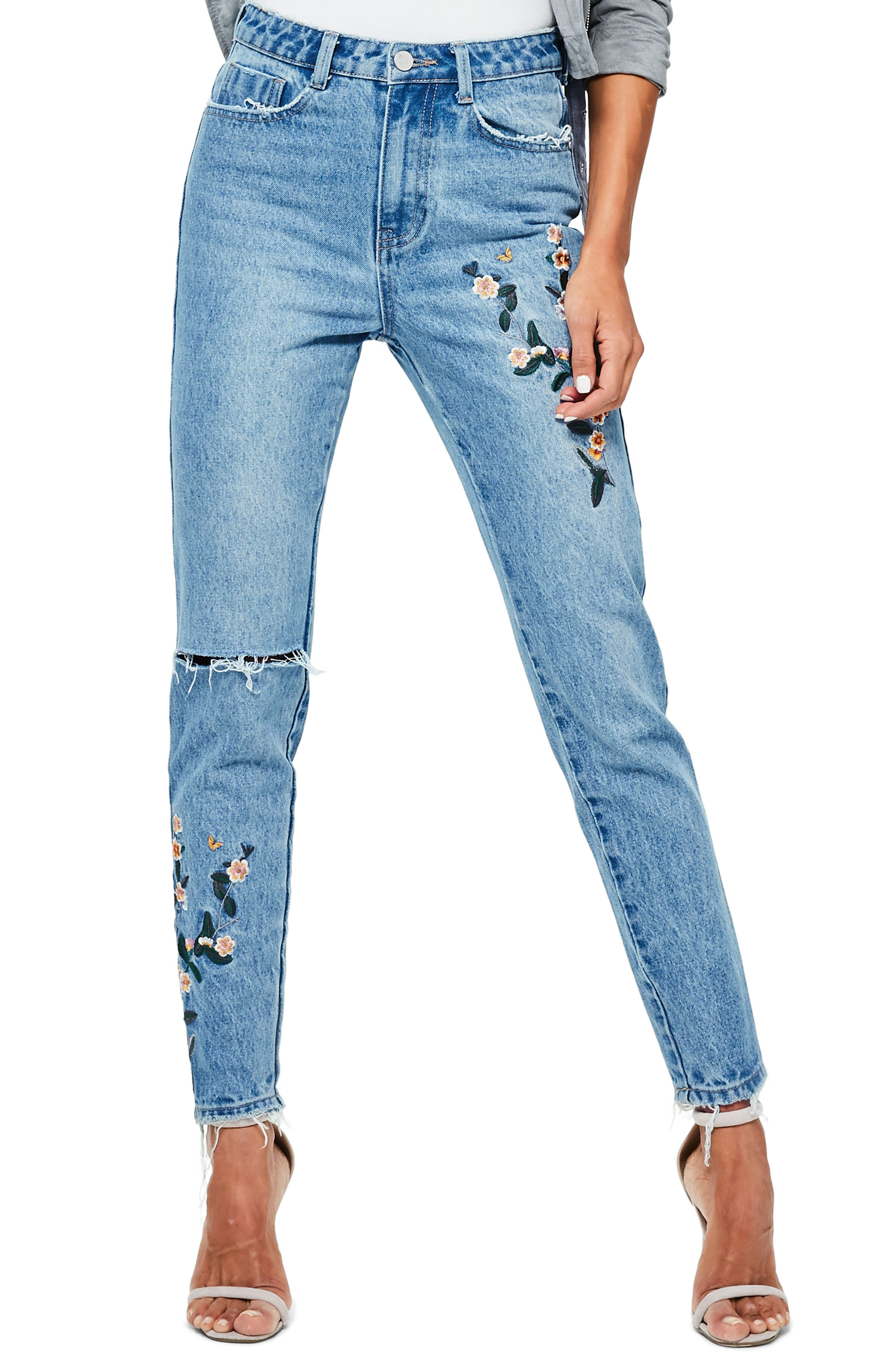 MISSGUIDED, Riot Ripped High Waist Embroidered Jeans, Main thumbnail 1, color, 400