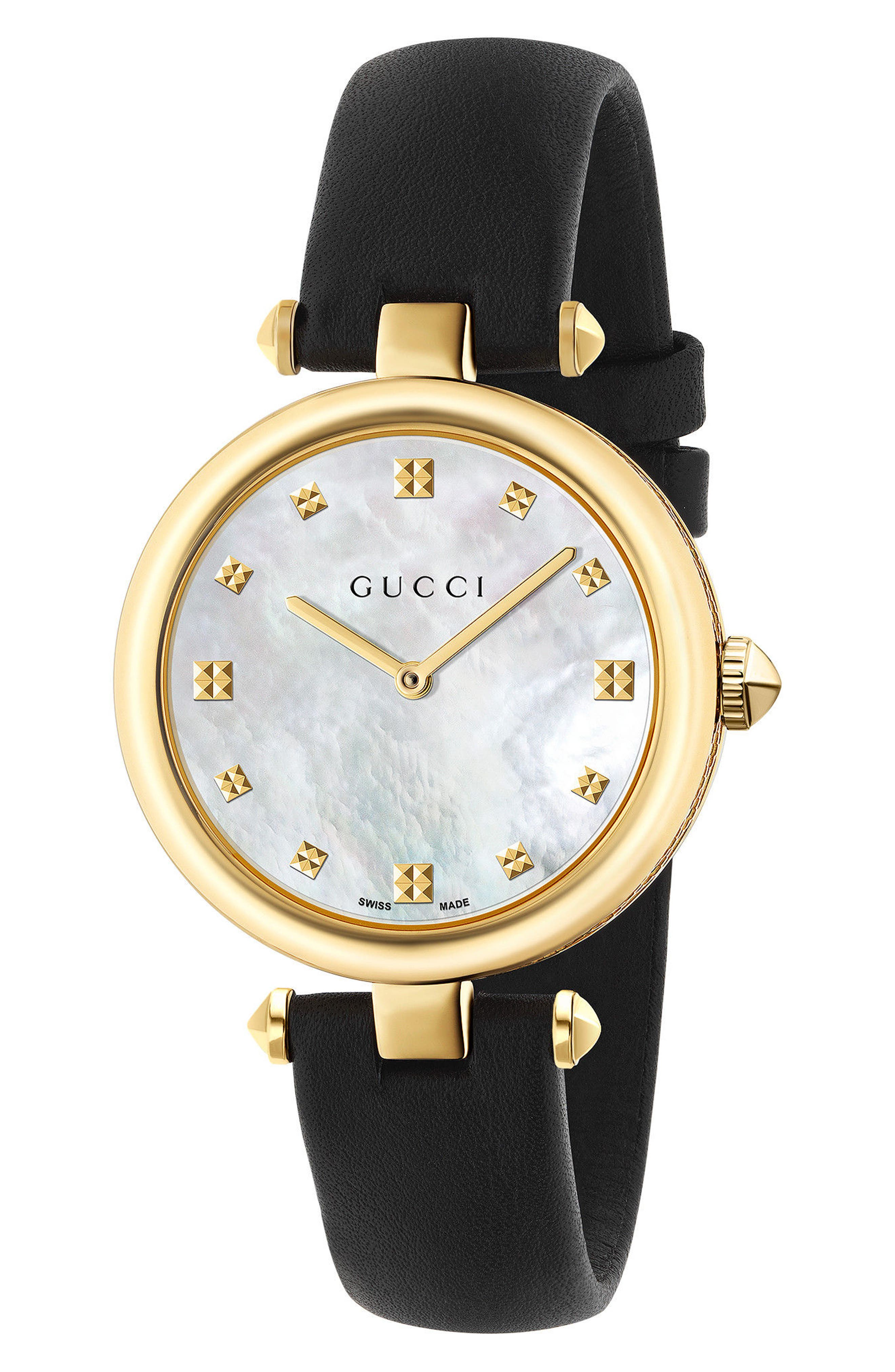 GUCCI, Diamantissima Leather Strap Watch, 32mm, Main thumbnail 1, color, BLACK/ MOP/ GOLD