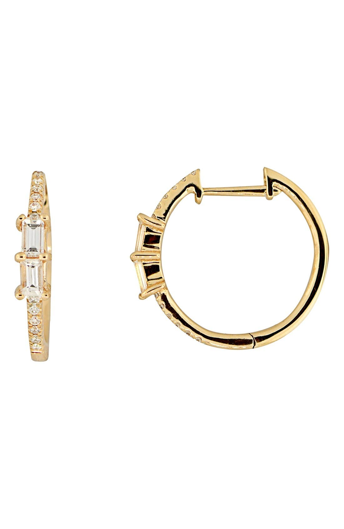 BONY LEVY, Diamond Hoop Earrings, Main thumbnail 1, color, YELLOW GOLD