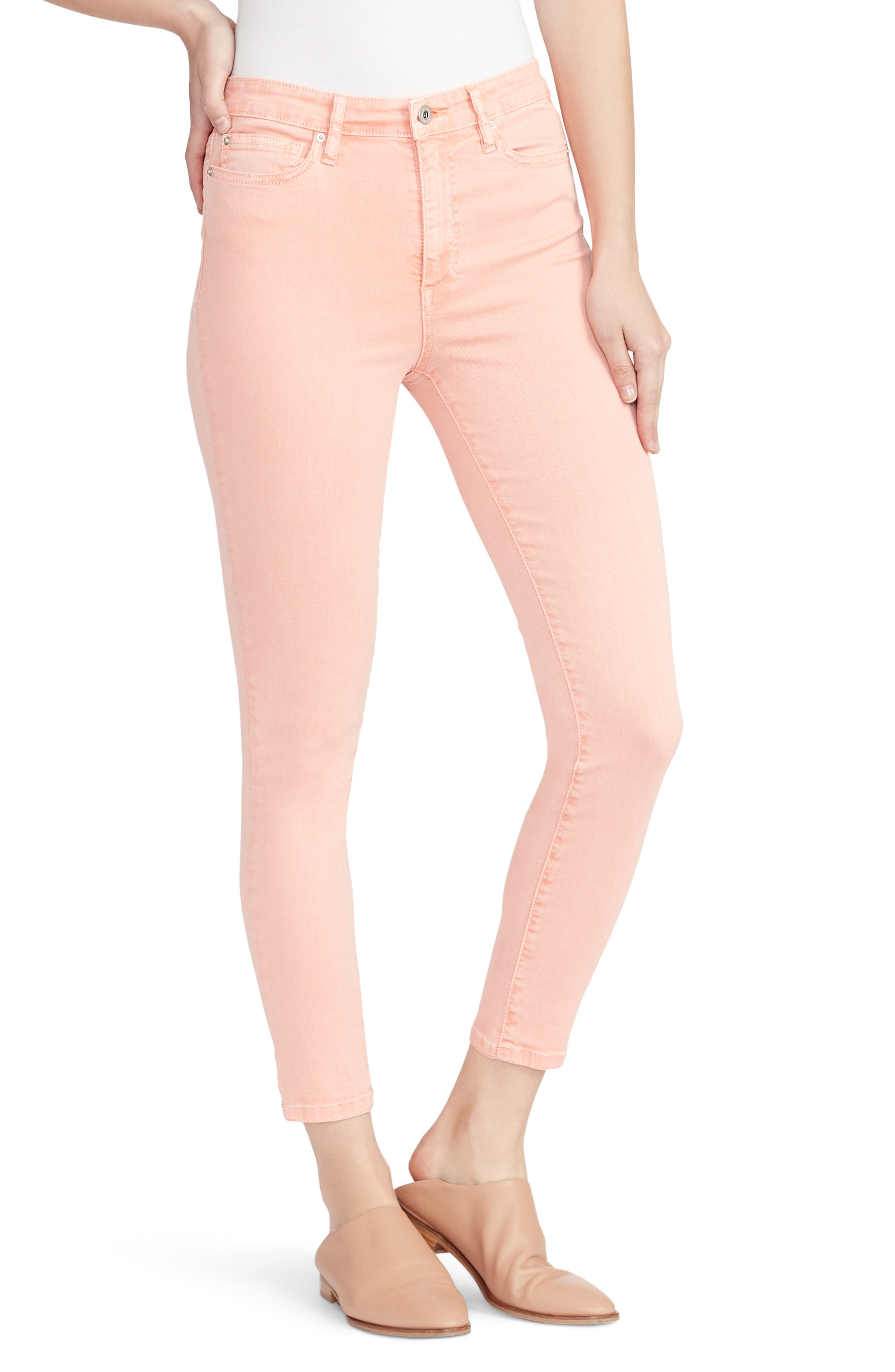 ELLA MOSS, High Waist Ankle Skinny Jeans, Main thumbnail 1, color, PEACH BUD