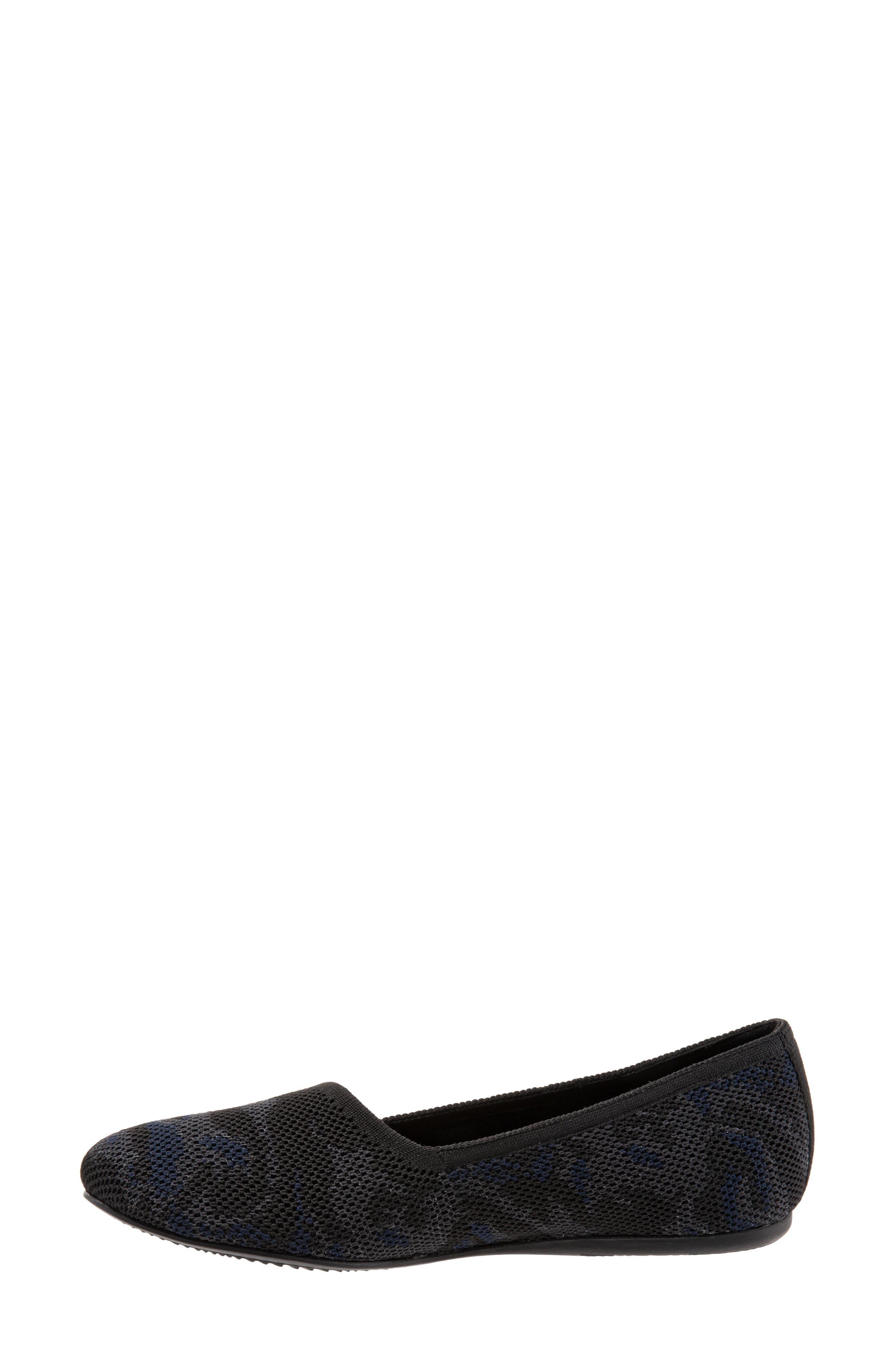 SOFTWALK<SUP>®</SUP>, Sicily Knit Flat, Alternate thumbnail 8, color, BLACK/ GREY FABRIC