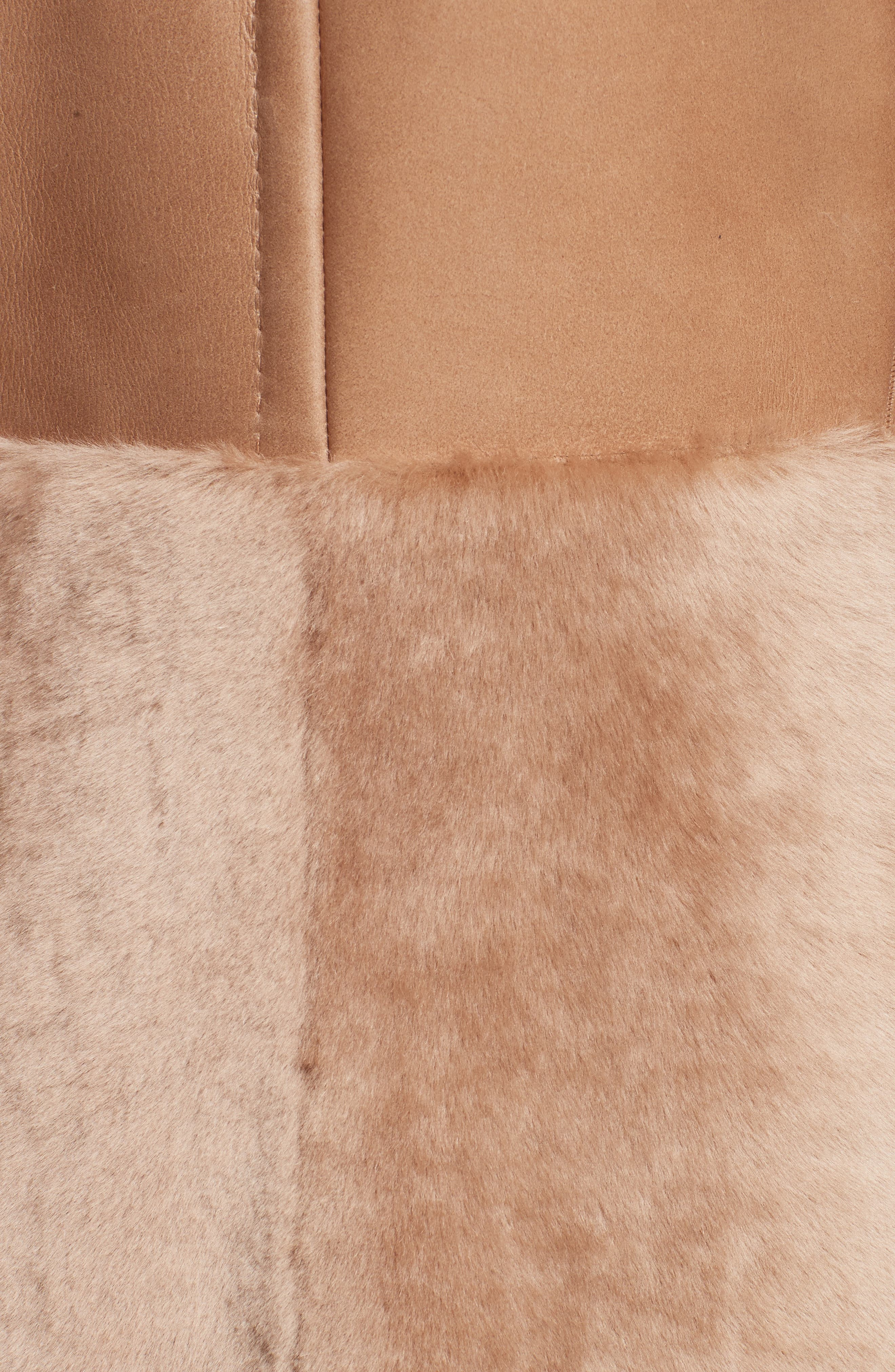 MAX MARA, Rimini Genuine Shearling Coat, Alternate thumbnail 6, color, CAMEL