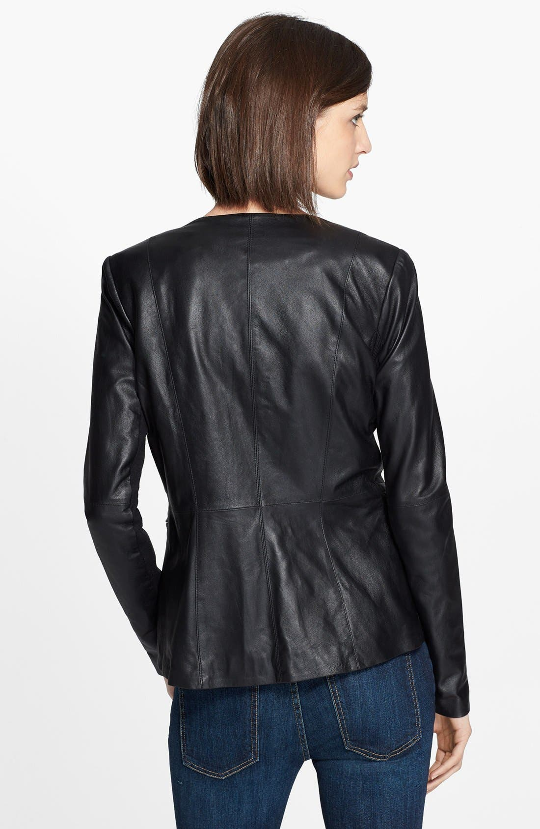 VEDA, 'Aires' Asymmetrical Zip Leather Jacket, Alternate thumbnail 4, color, 001