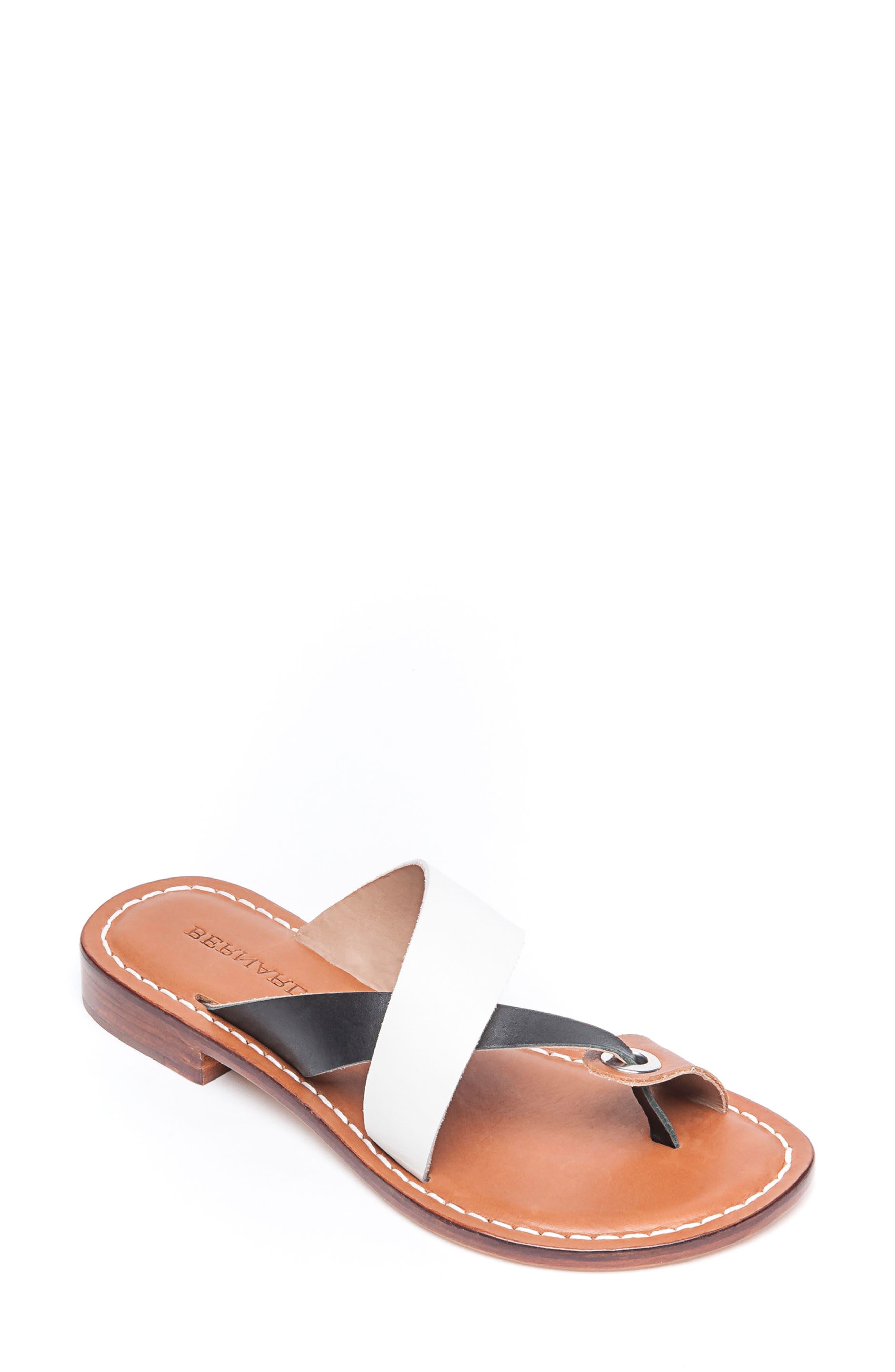 BERNARDO Tia Sandal, Main, color, WHITE/ BLACK/ LUGGAGE LEATHER
