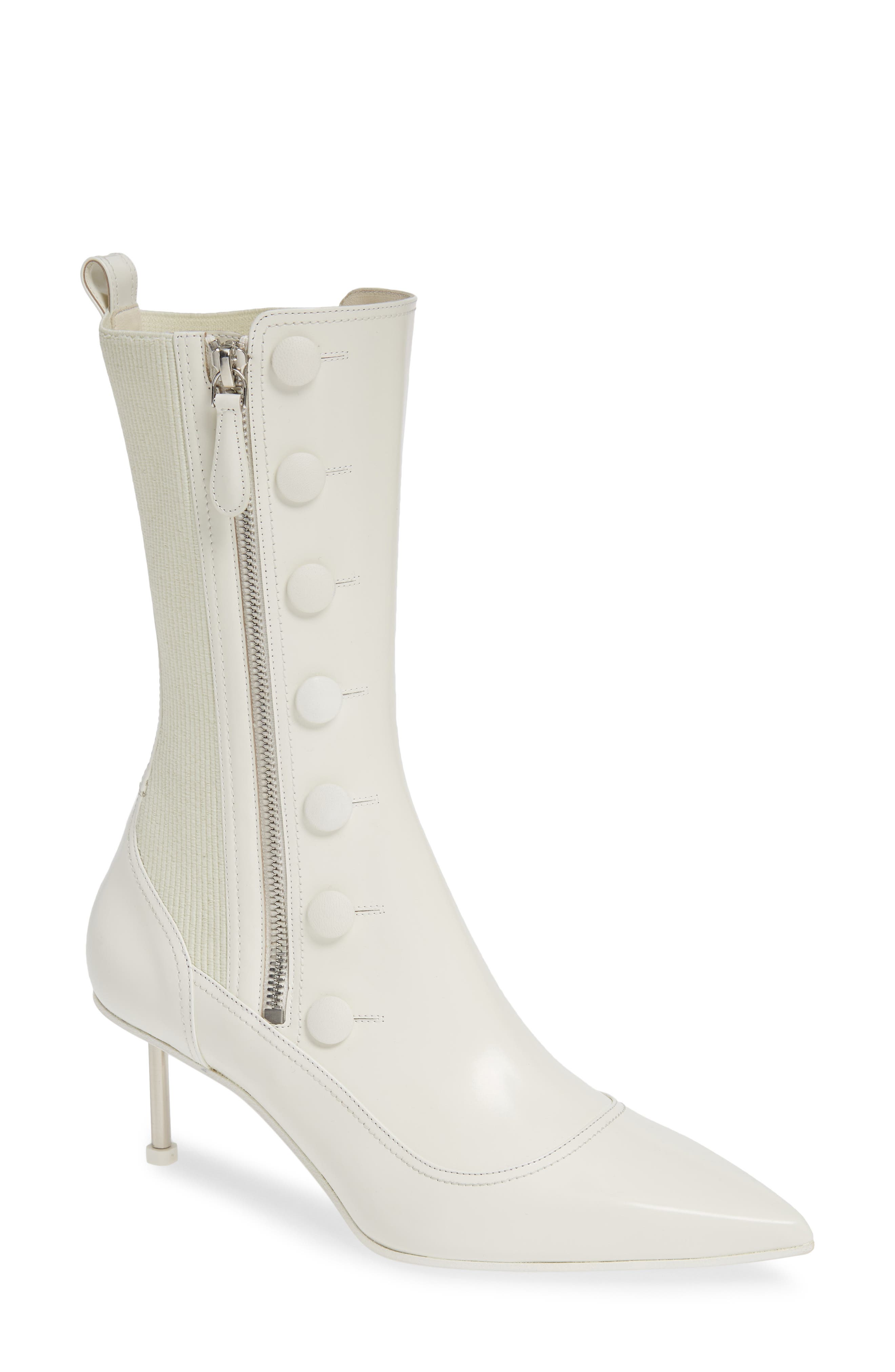 ALEXANDER MCQUEEN Button Pointy Toe Boot, Main, color, IVORY/ BLACK