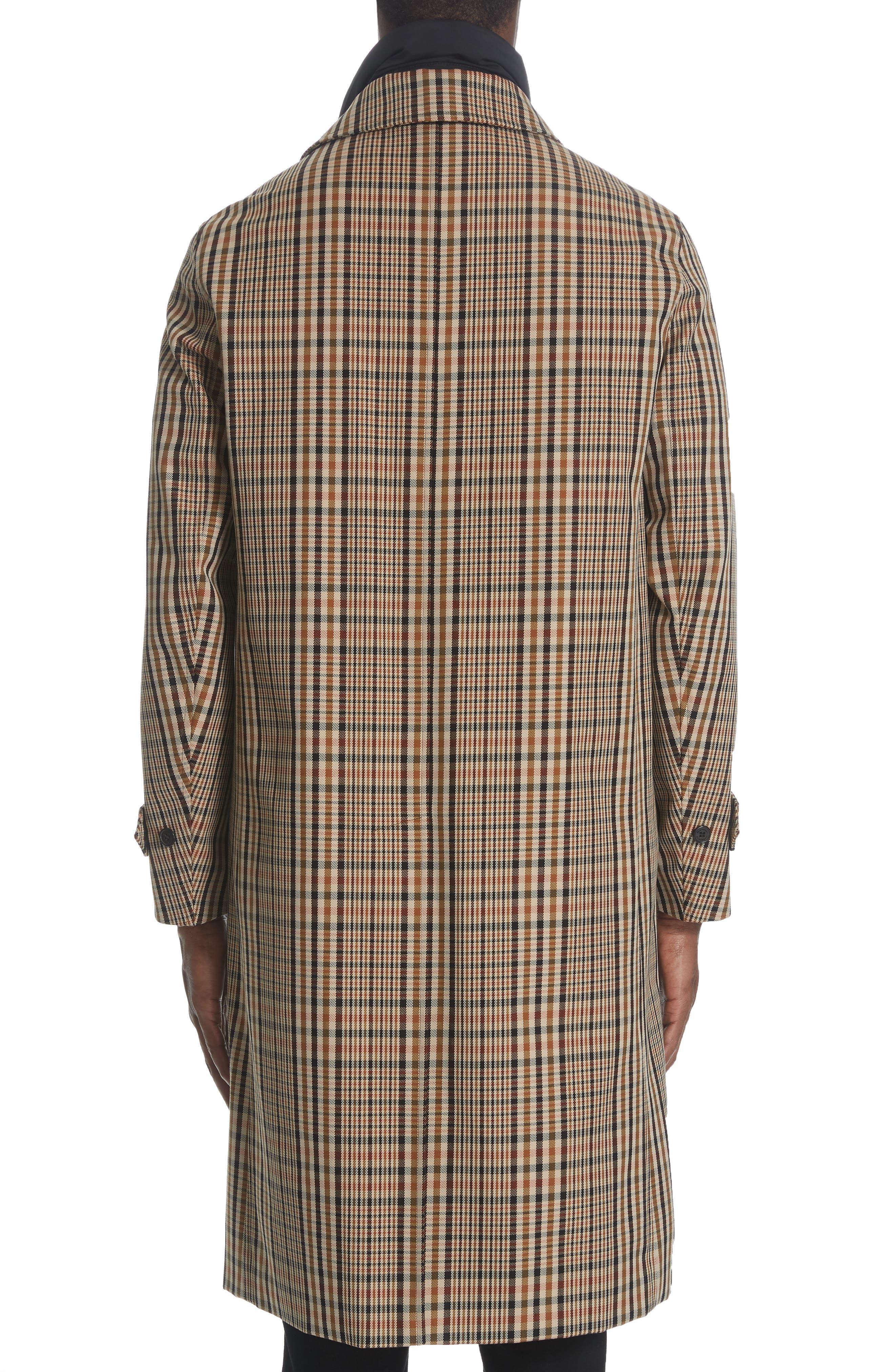BURBERRY, Lenthorne Check Car Coat with Detachable Vest, Alternate thumbnail 3, color, DARK CAMEL