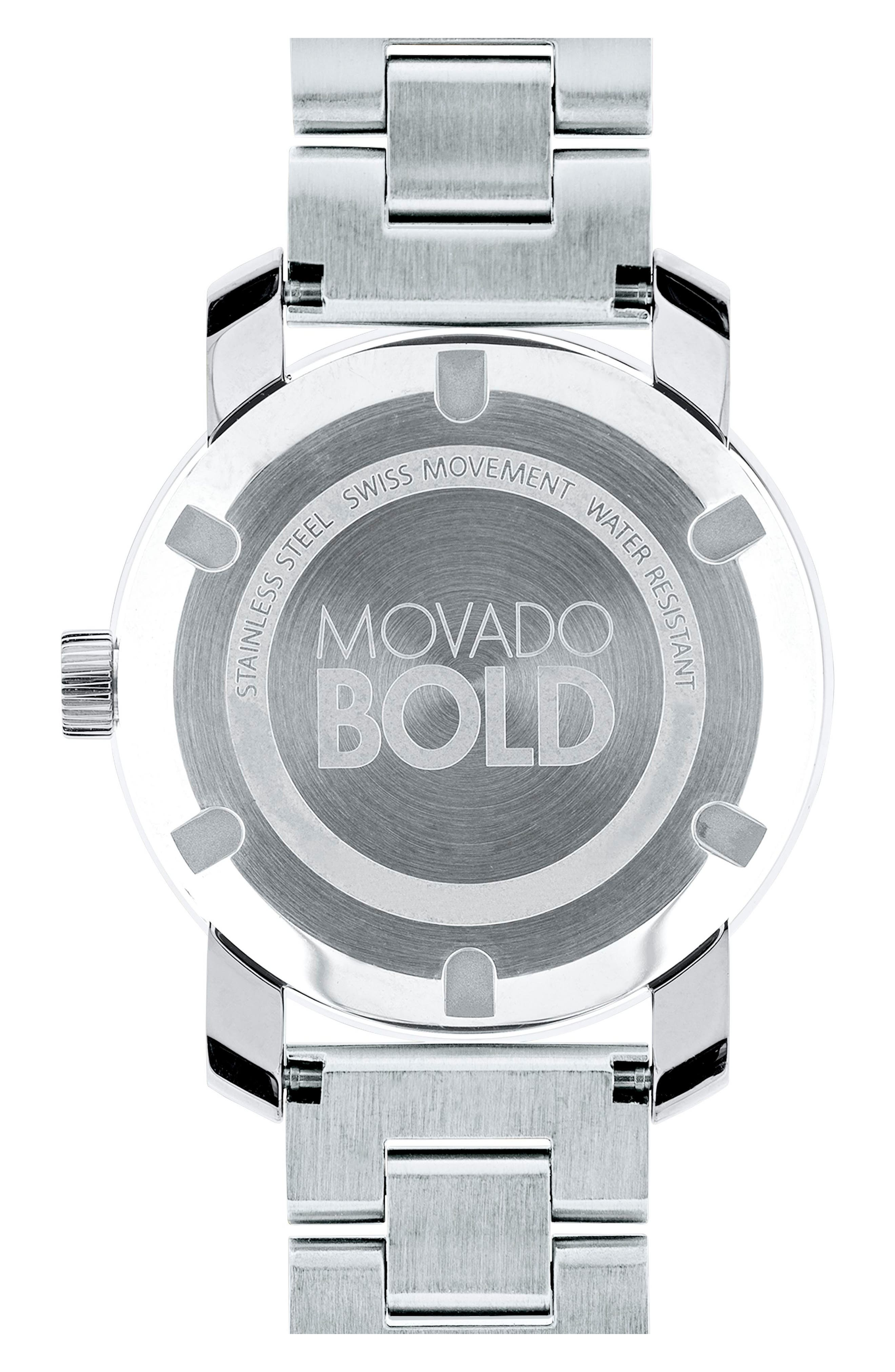 MOVADO, 'Bold' Round Bracelet Watch, 36mm, Alternate thumbnail 2, color, SILVER
