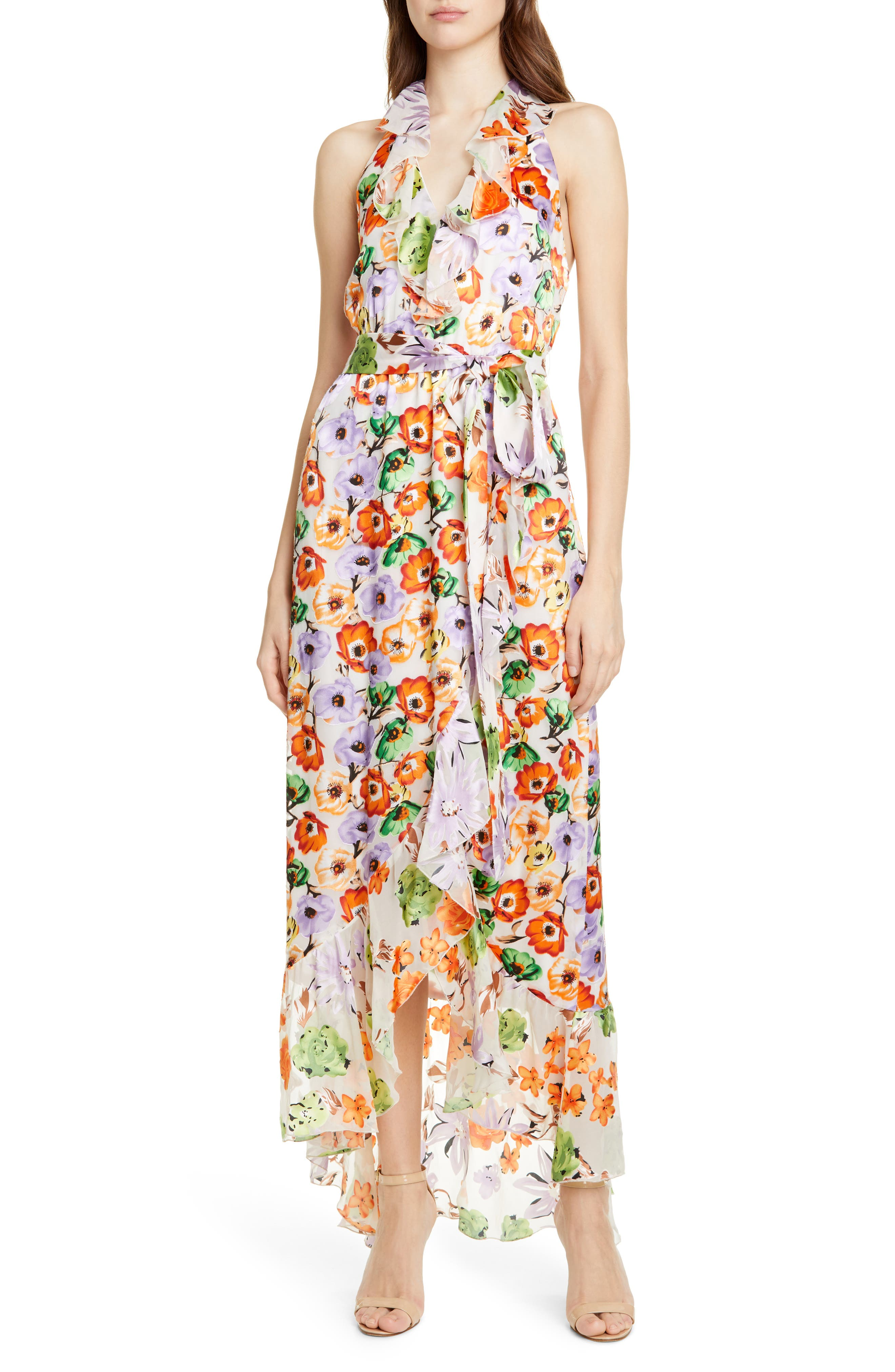 Alice + Olivia Evelia Asymmetrical Ruffle Maxi Dress, Brown
