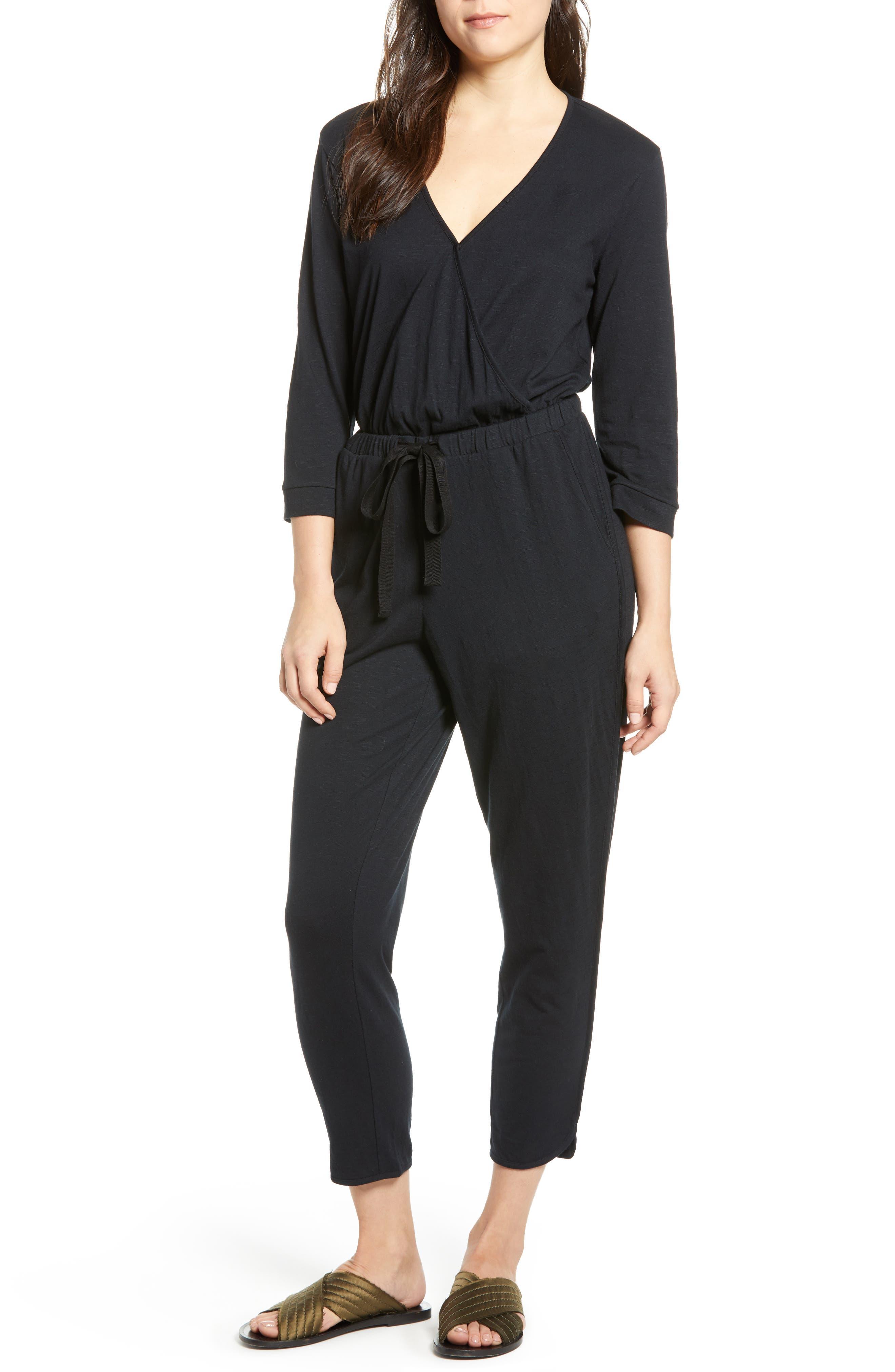 CASLON<SUP>®</SUP> Surplice Crop Jumpsuit, Main, color, BLACK