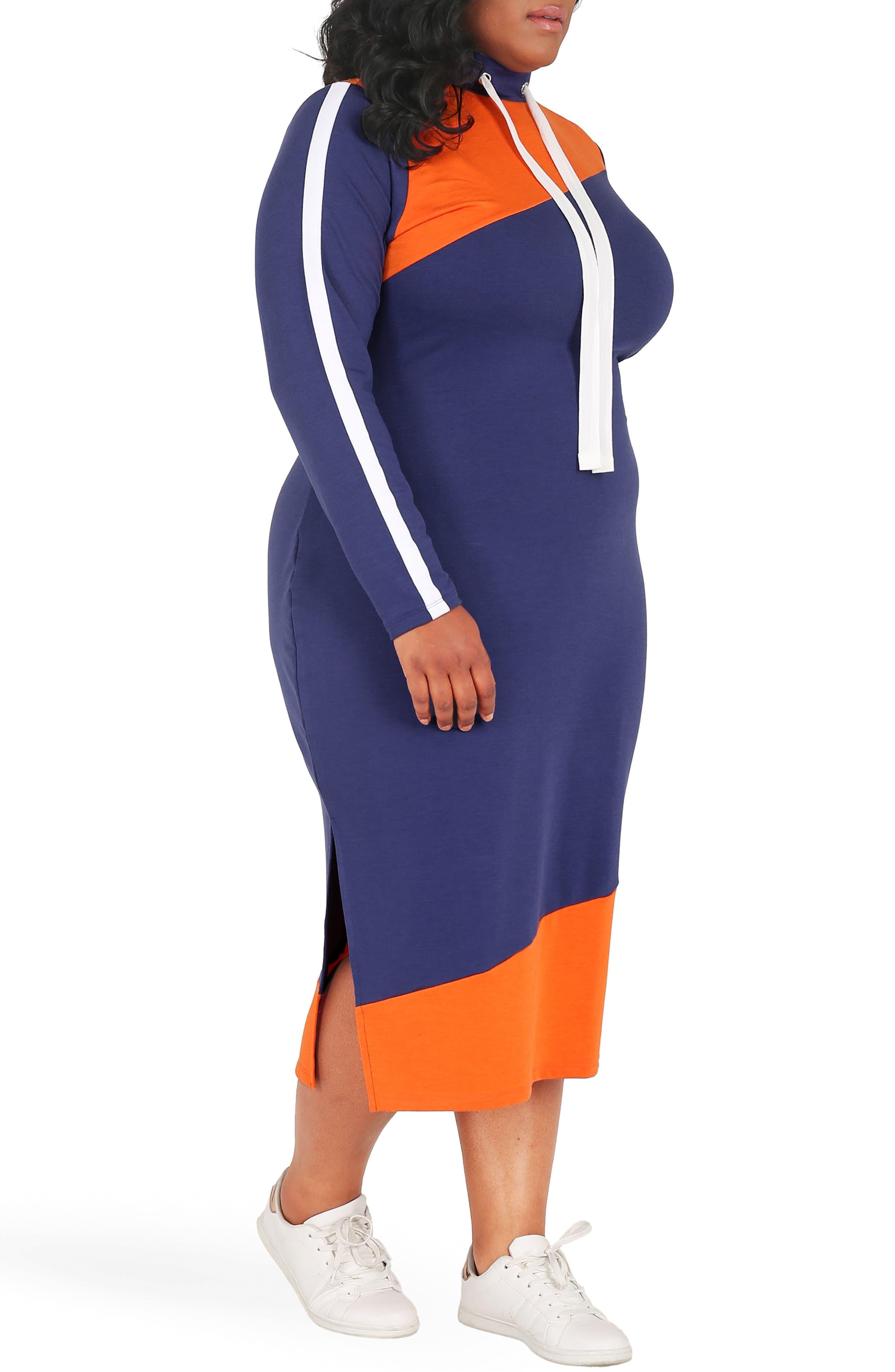 POETIC JUSTICE, Wanda Colorblock Midi Dress, Alternate thumbnail 3, color, NAVY