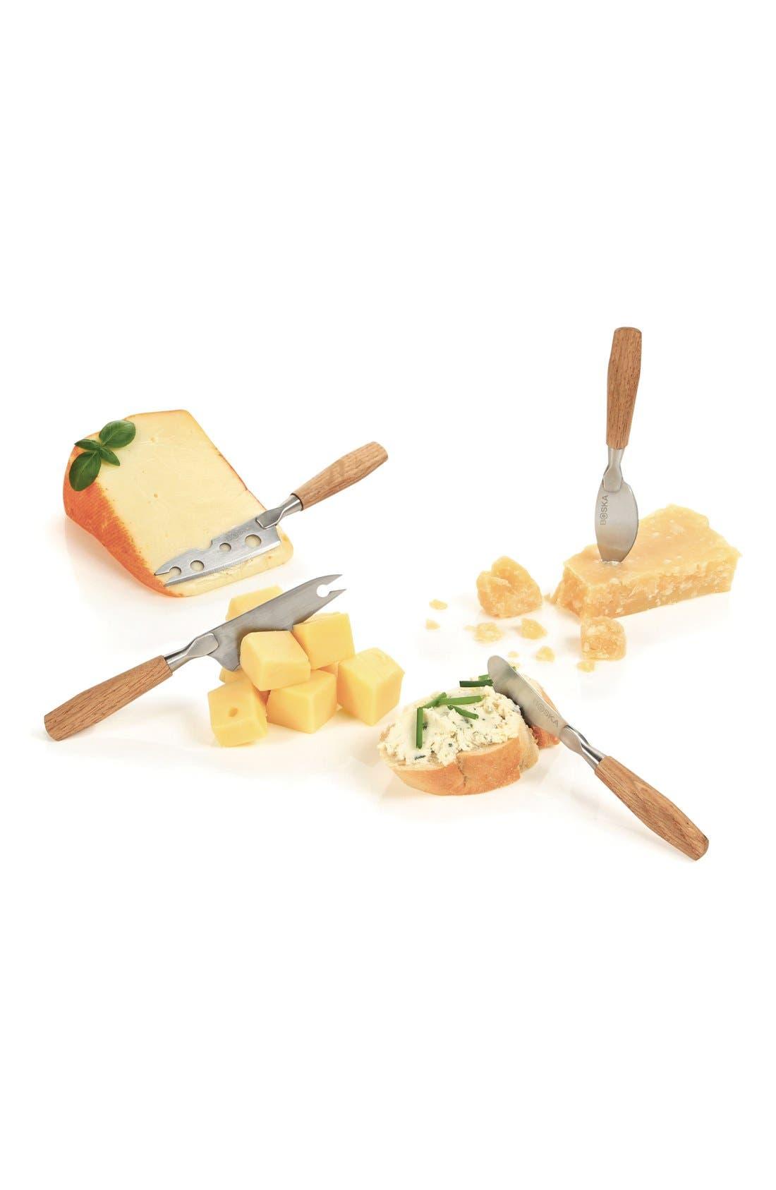 BOSKA, Set of 4 Mini Oak Cheese Knives, Alternate thumbnail 3, color, 200