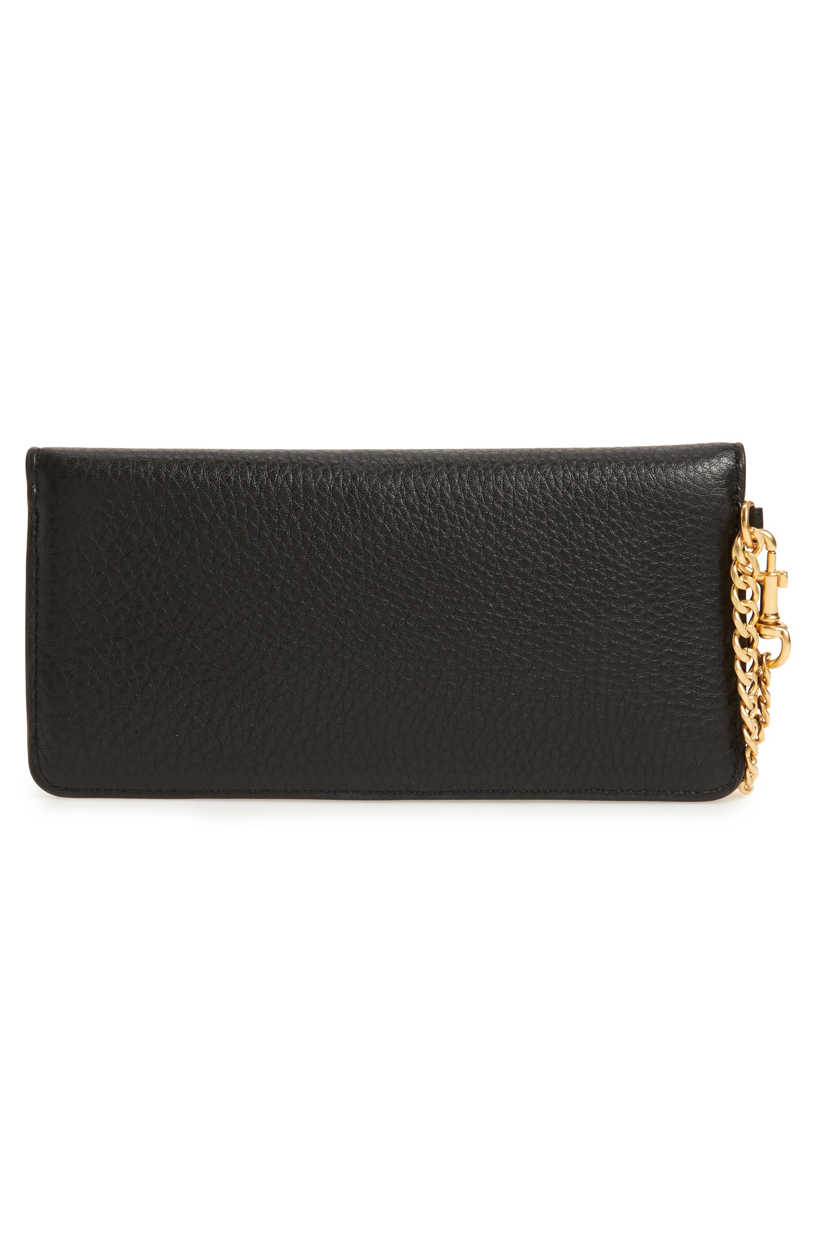 TORY BURCH, Chelsea Leather Wristlet Wallet, Alternate thumbnail 4, color, 001