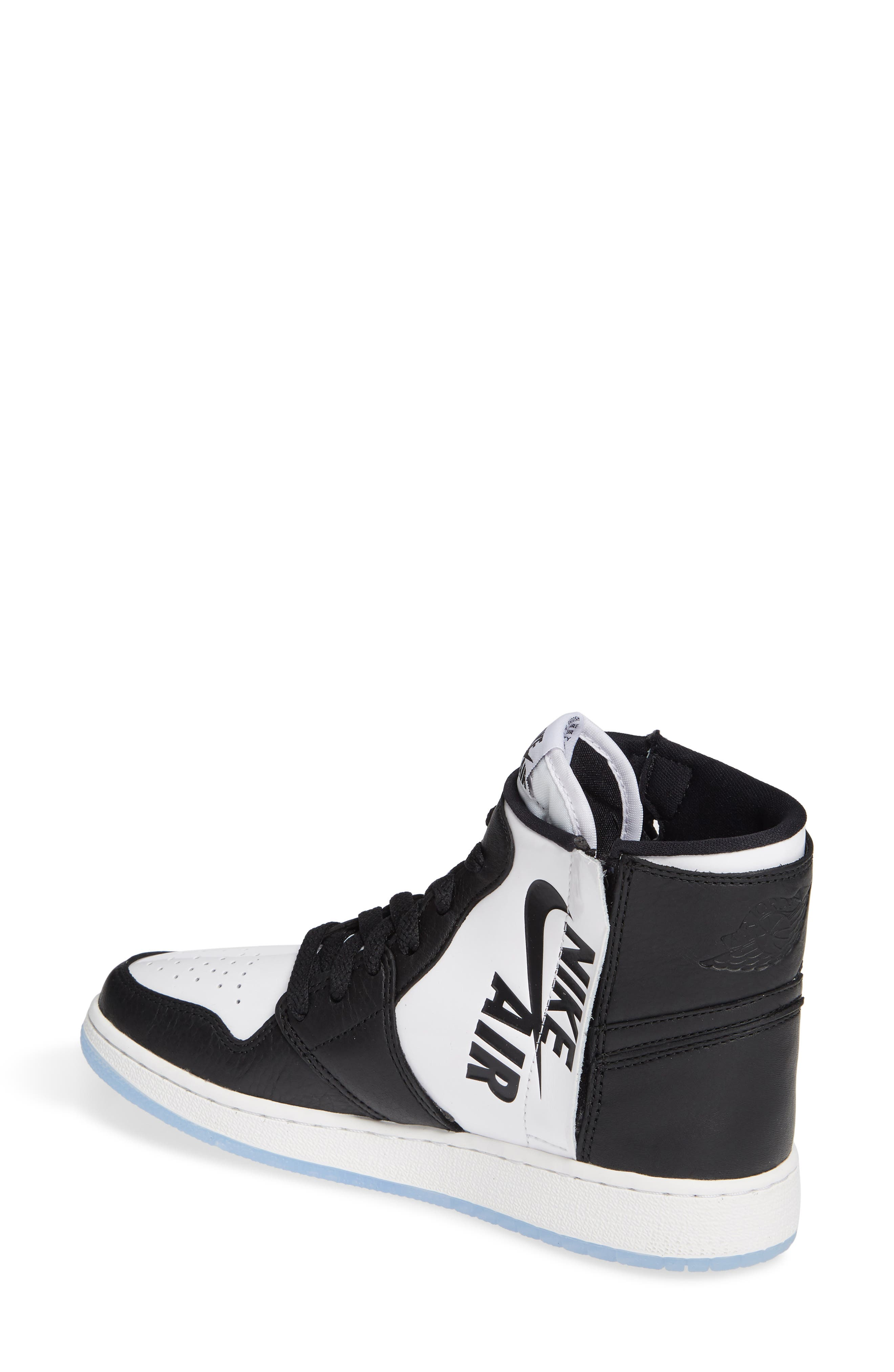NIKE, Air Jordan 1 Rebel XX High Top Sneaker, Alternate thumbnail 2, color, BLACK/ BLACK