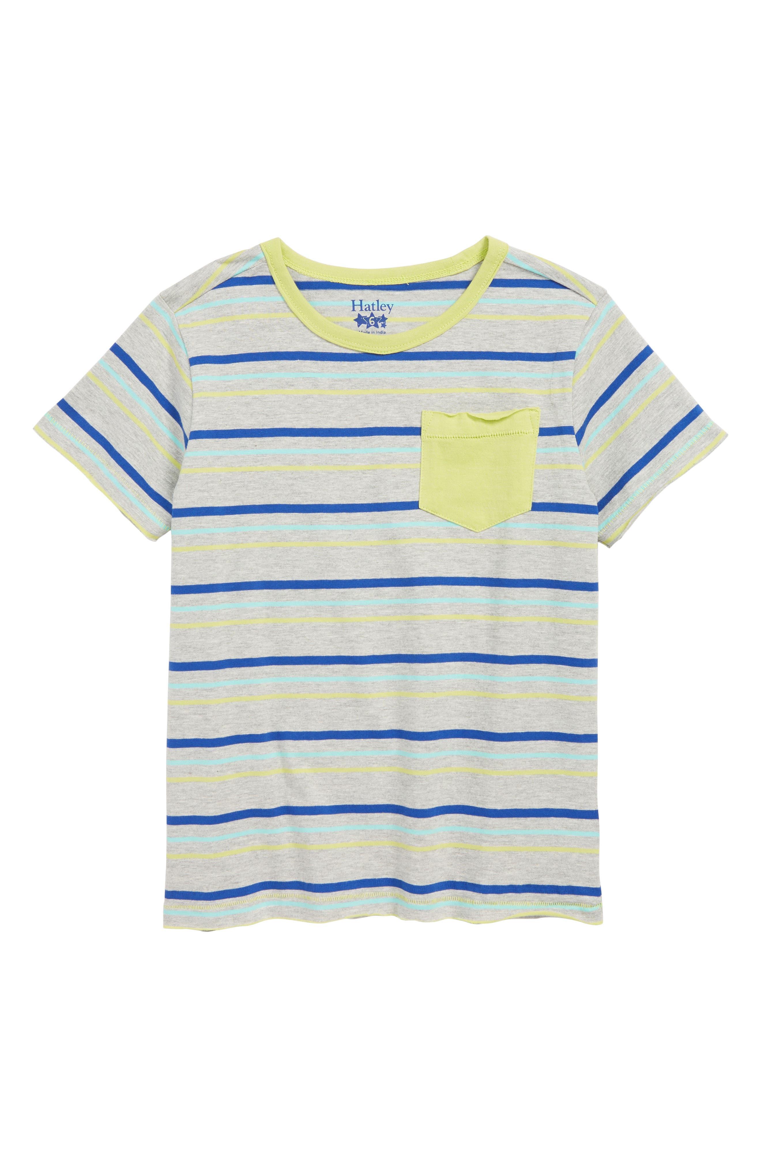 HATLEY Stripes T-Shirt, Main, color, GREY