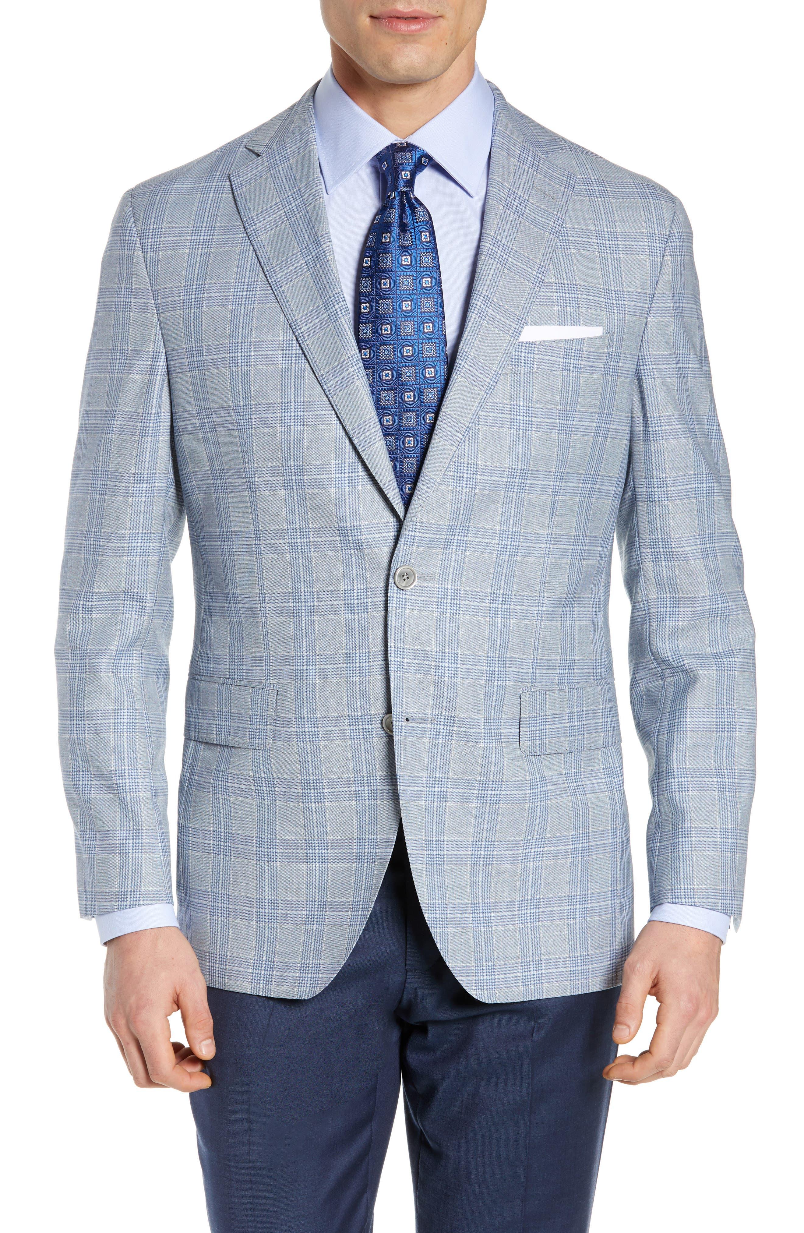 DAVID DONAHUE, Arnold Classic Fit Plaid Wool Sport Coat, Main thumbnail 1, color, BLUE