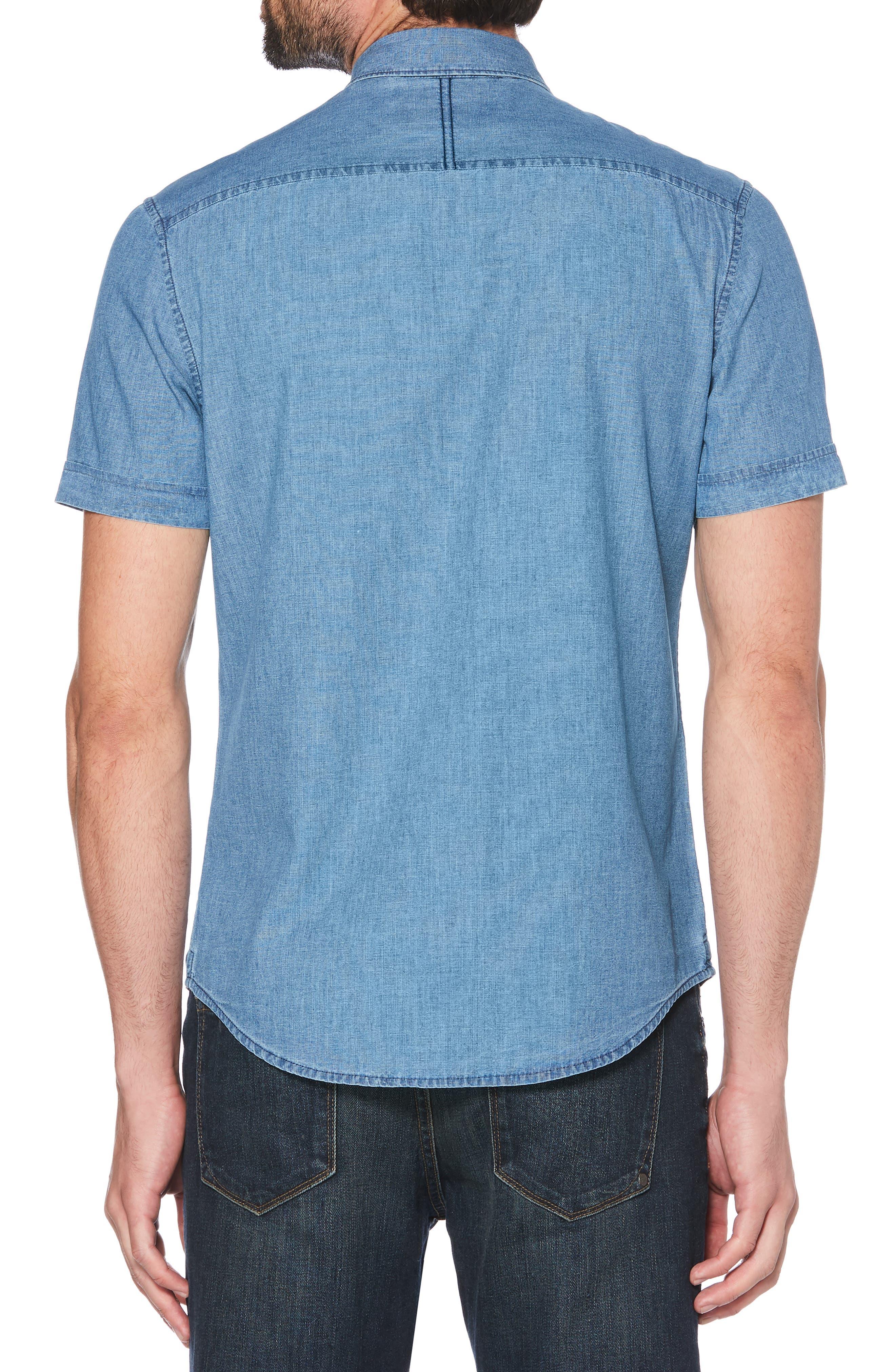 ORIGINAL PENGUIN, Pinpoint Slim Fit Chambray Shirt, Alternate thumbnail 3, color, 489