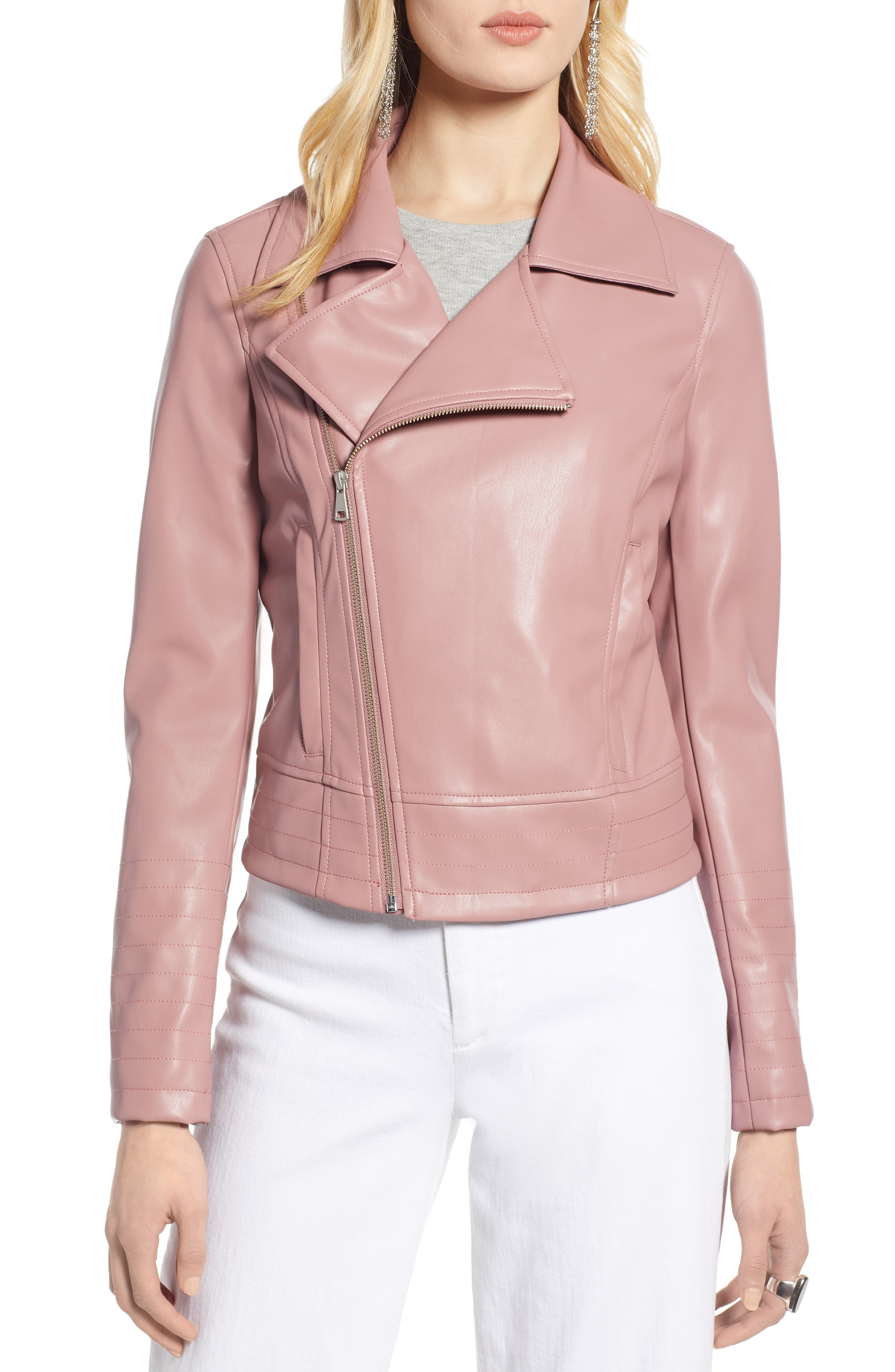 HALOGEN<SUP>®</SUP>, Quilted Faux Leather Moto Jacket, Alternate thumbnail 5, color, ROUGE
