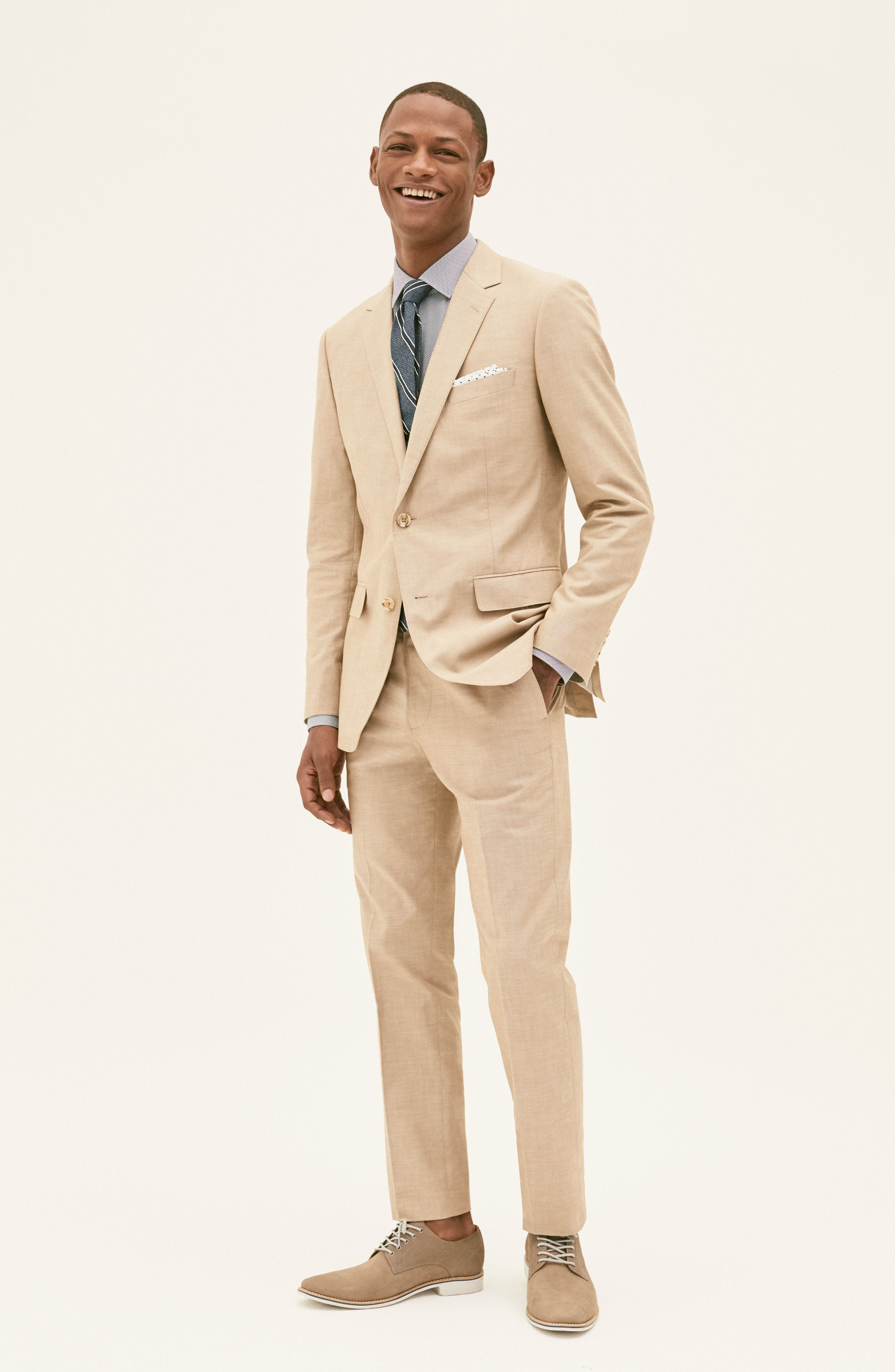 BONOBOS, Slim Fit Chambray Cotton Blazer, Alternate thumbnail 7, color, SOLID BLUE