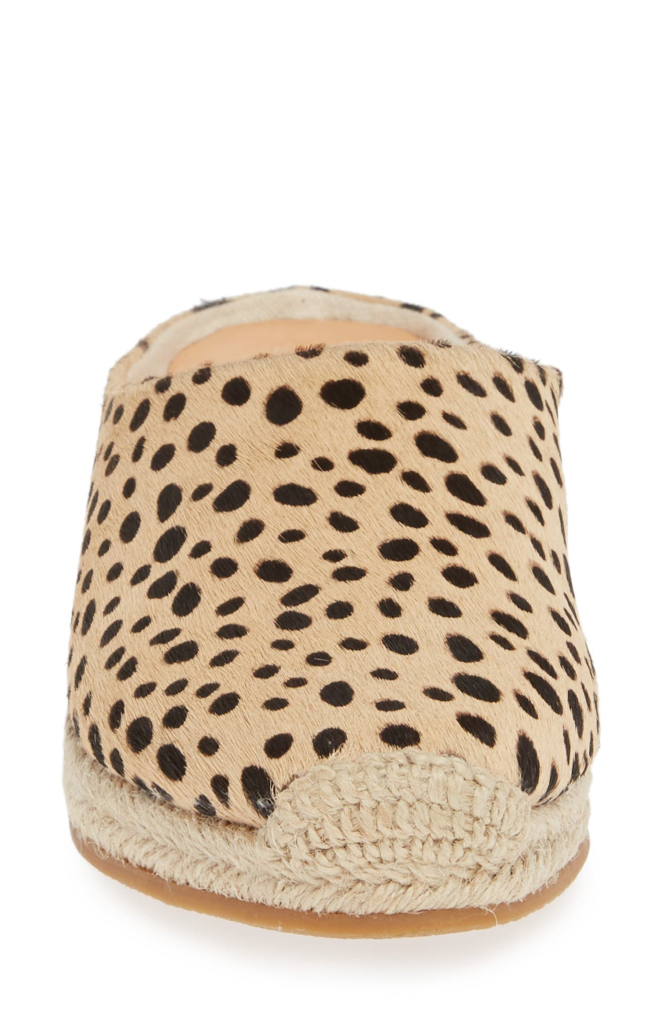 DOLCE VITA, Brandi Genuine Calf Hair Espadrille Mule, Alternate thumbnail 4, color, LEOPARD PRINT CALF HAIR