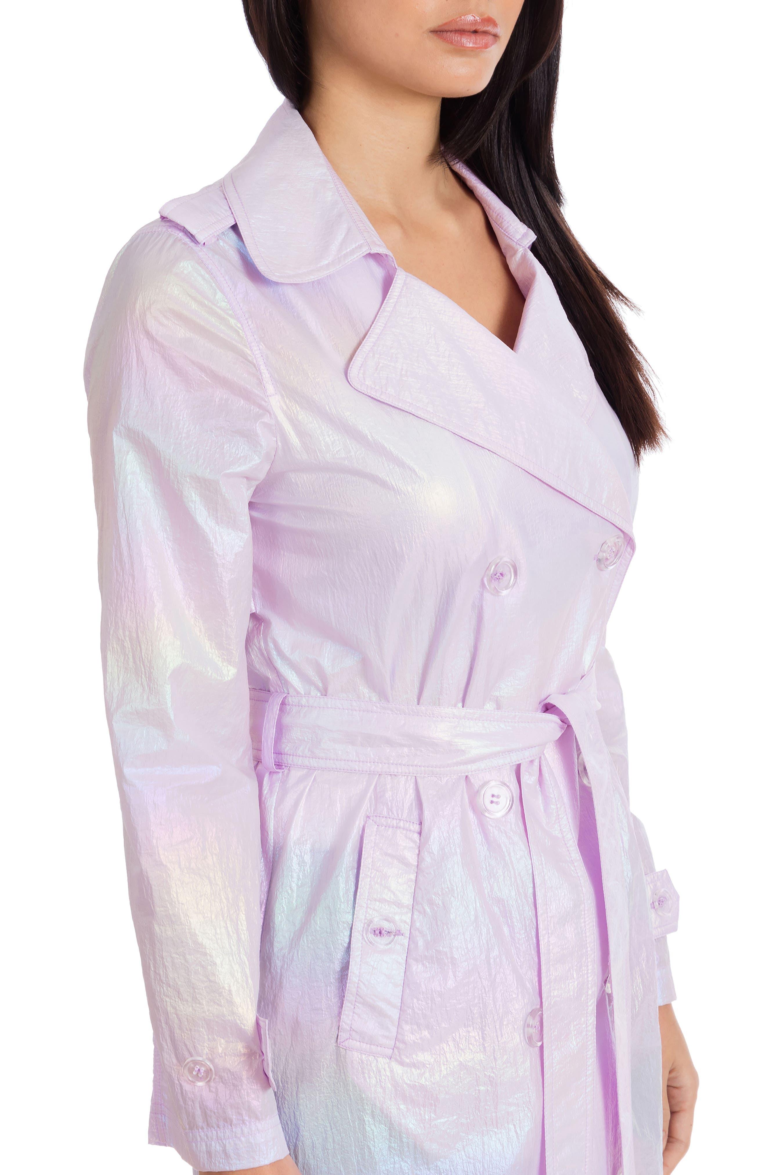 AVEC LES FILLES, Iridescent Trench Coat, Alternate thumbnail 4, color, IRIDESCENT
