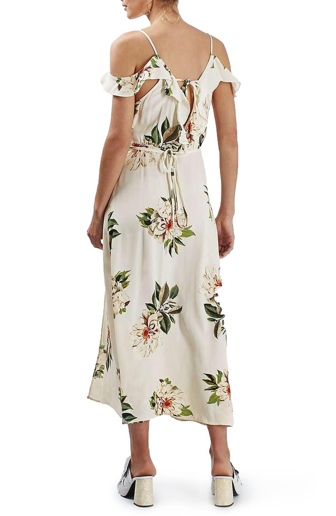 TOPSHOP, Floral Print Ruffle Cold Shoulder Wrap Maxi Dress, Alternate thumbnail 5, color, 900