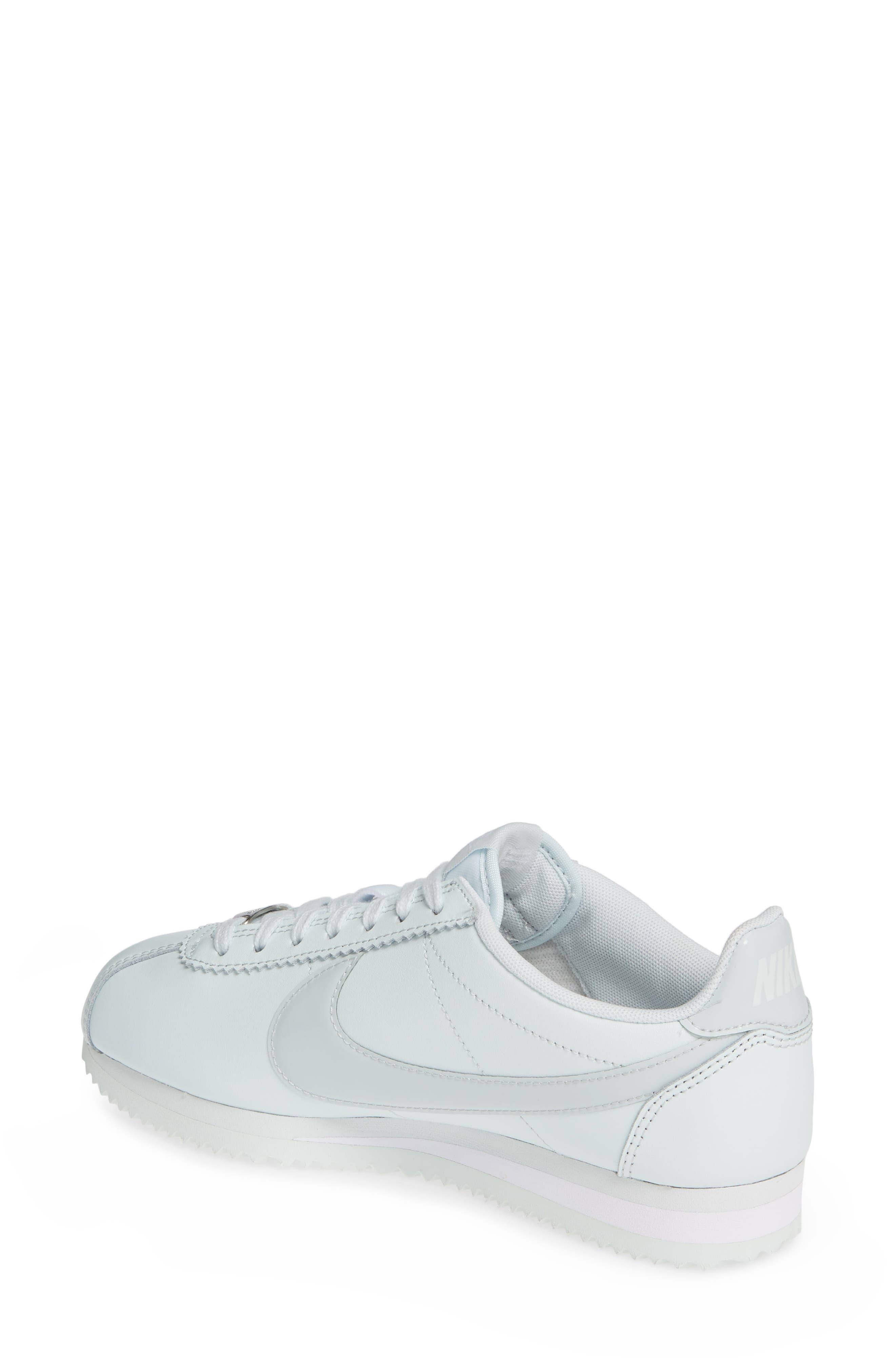 NIKE, Classic Cortez Premium XLV Sneaker, Alternate thumbnail 2, color, BARELY GREY/ WHITE