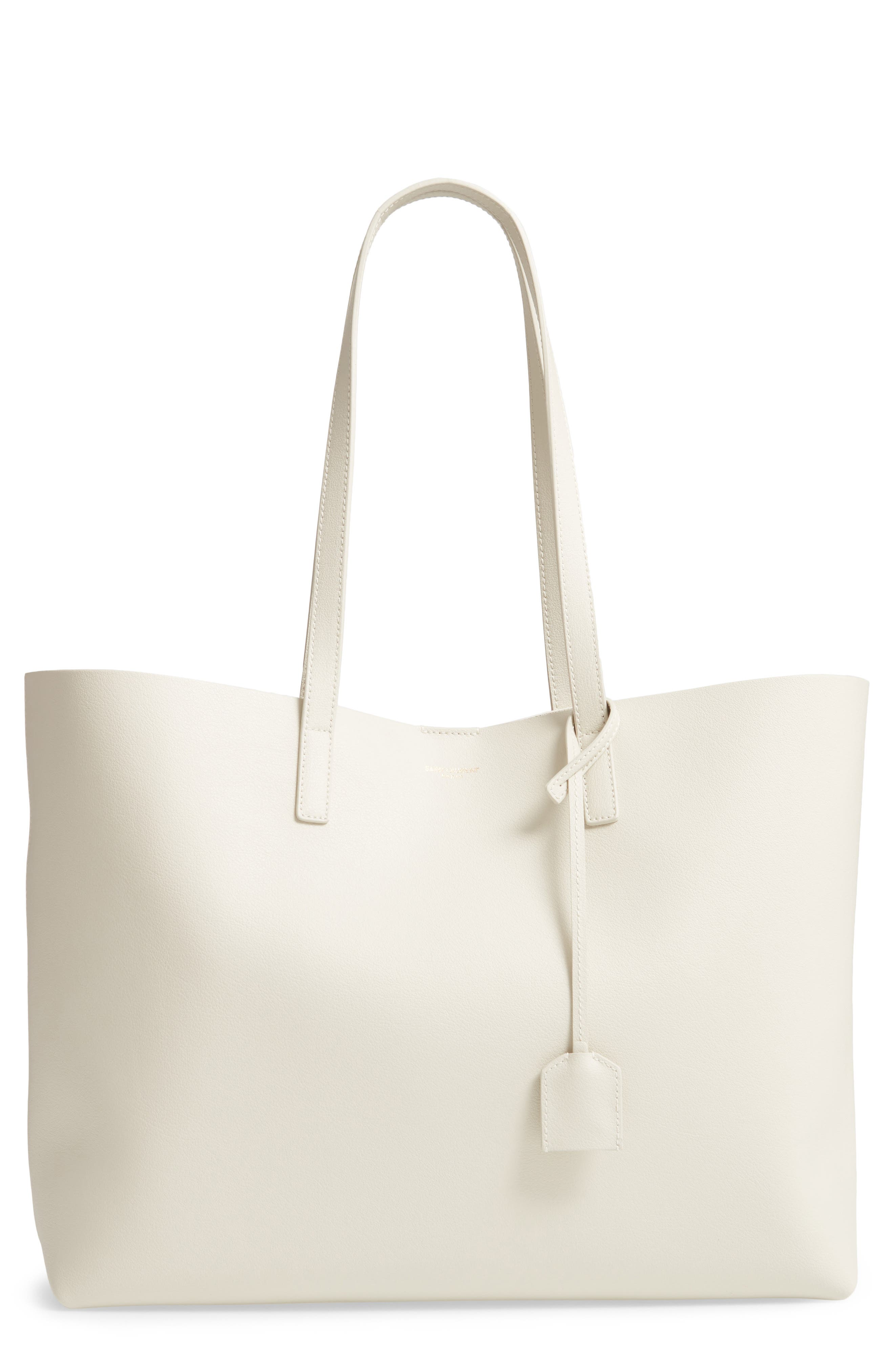 SAINT LAURENT, 'Shopping' Leather Tote, Main thumbnail 1, color, CREMASOFT