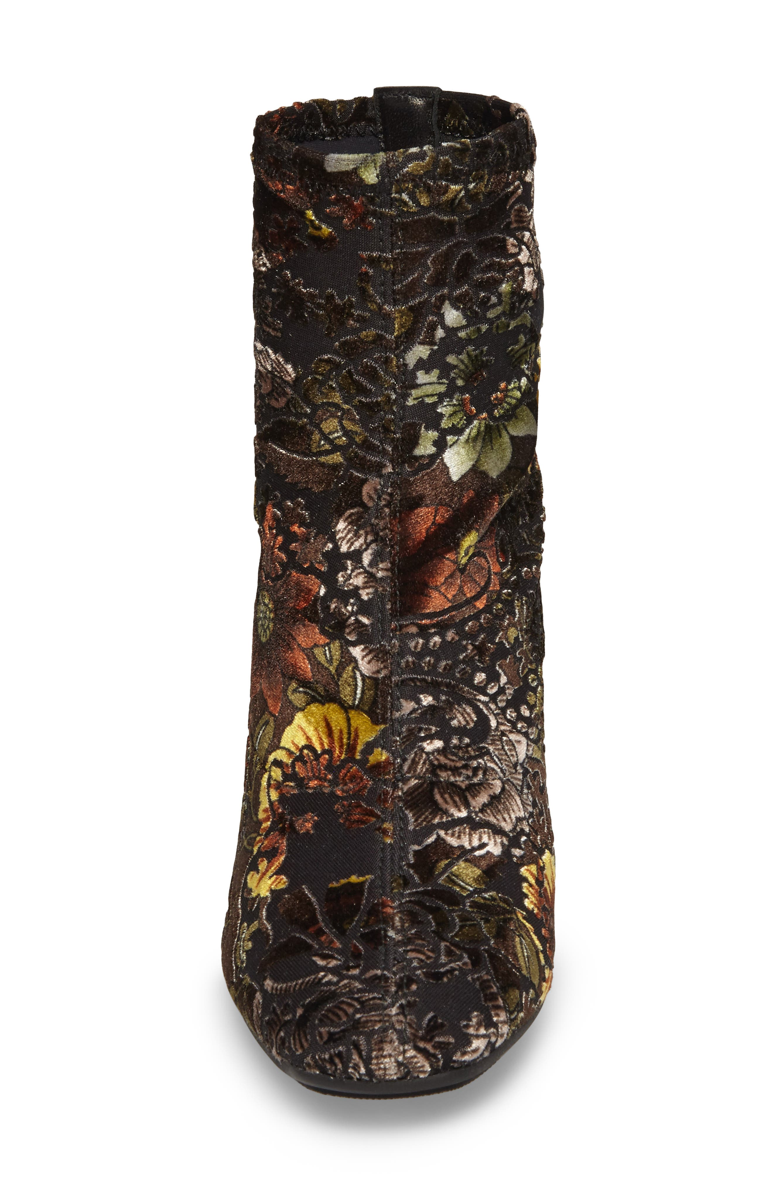 HISPANITAS, Portia Floral Stretch Velvet Bootie, Alternate thumbnail 4, color, CARAVAGGIO FABRIC