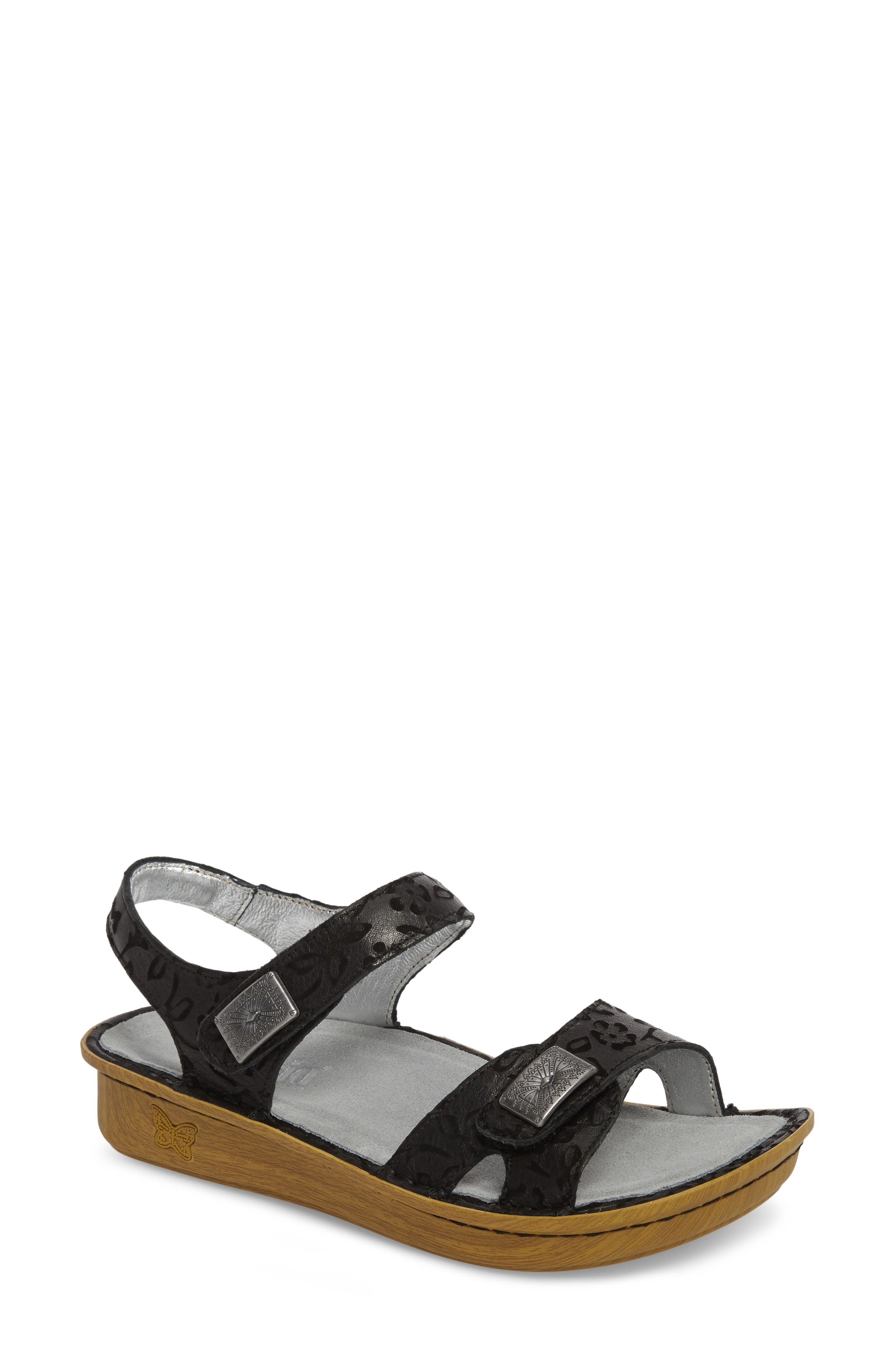 ALEGRIA, Vienna Sandal, Main thumbnail 1, color, MORNING GLORY BLACK LEATHER