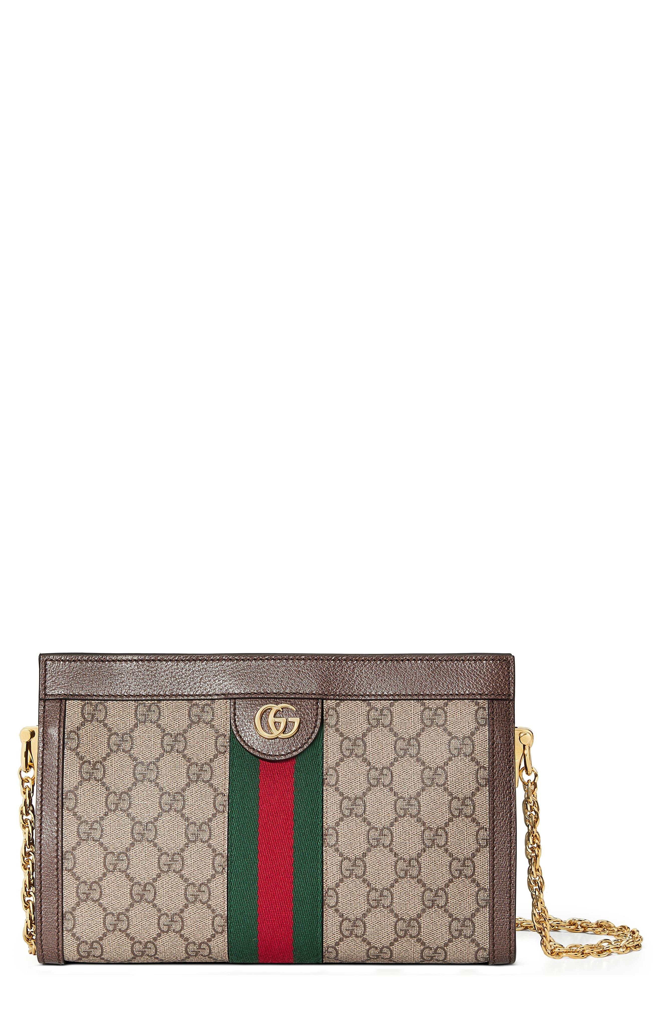GUCCI, Small GG Supreme Shoulder Bag, Main thumbnail 1, color, BEIGE EBONY/ NERO/ VERT/ RED