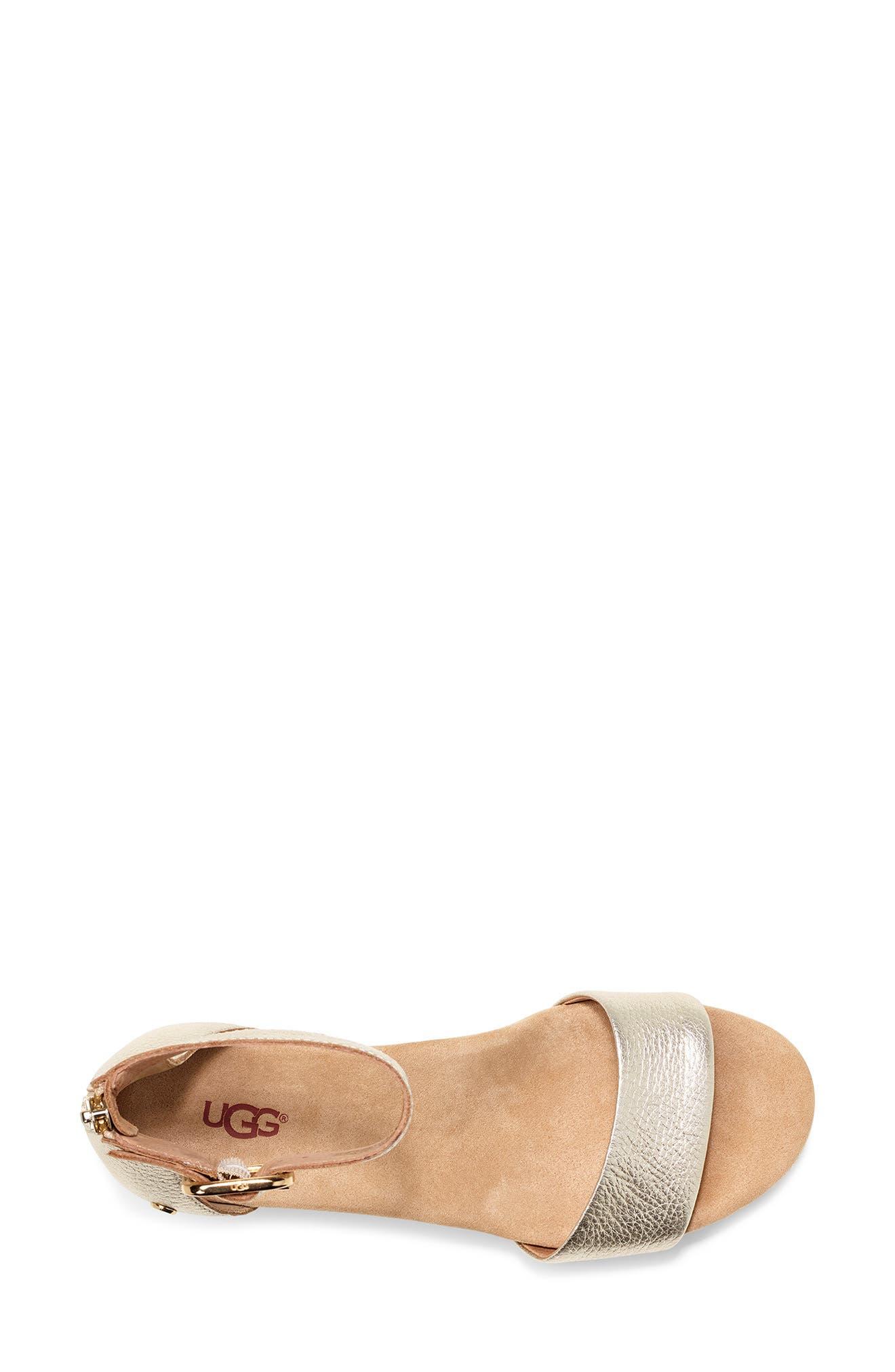 UGG<SUP>®</SUP>, Zoe II Metallic Wedge Sandal, Alternate thumbnail 4, color, GOLD LEATHER